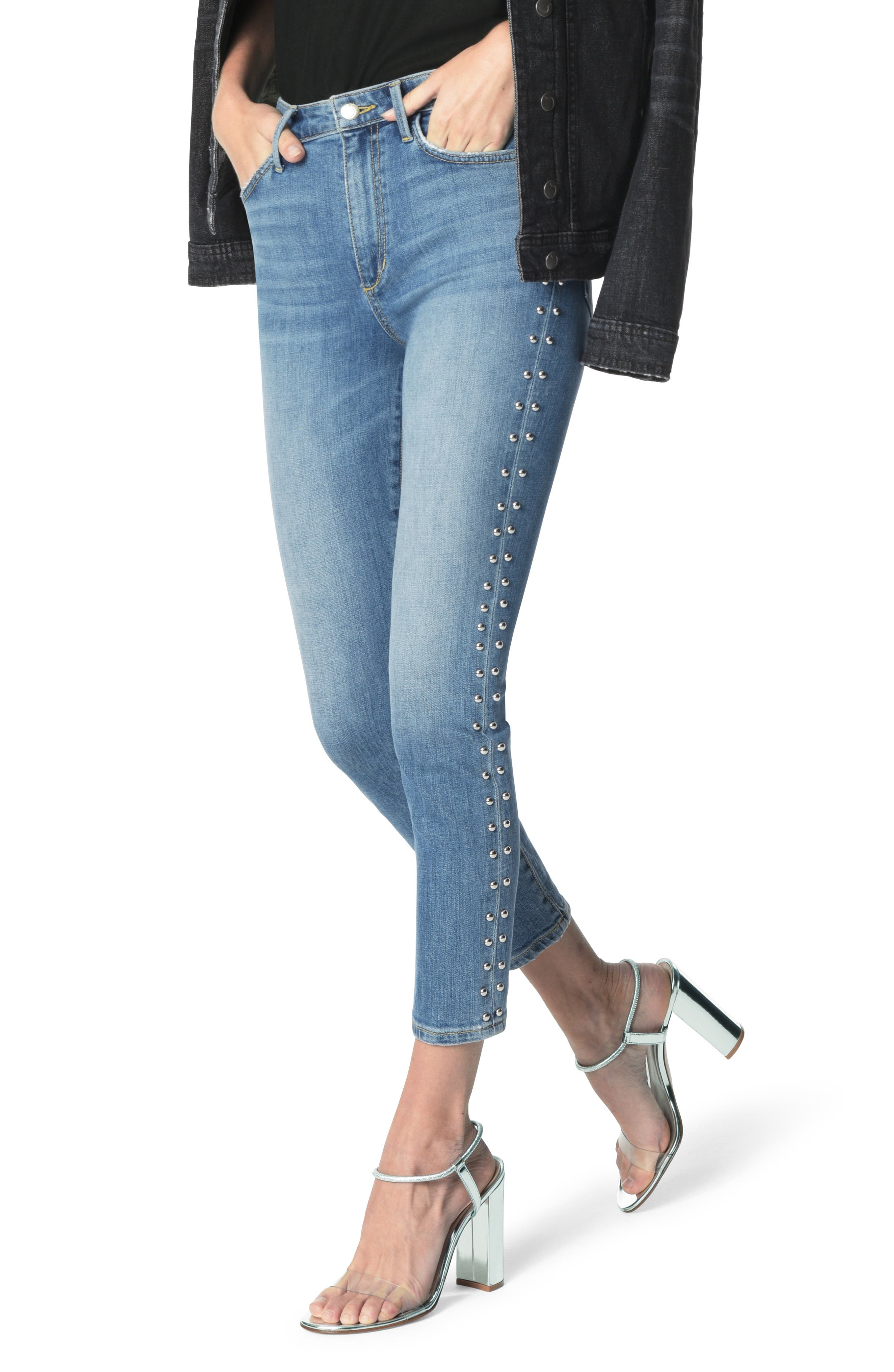 Charlie Stud Seam High Waist Ankle Skinny Jeans,                         Main,                         color, ORA