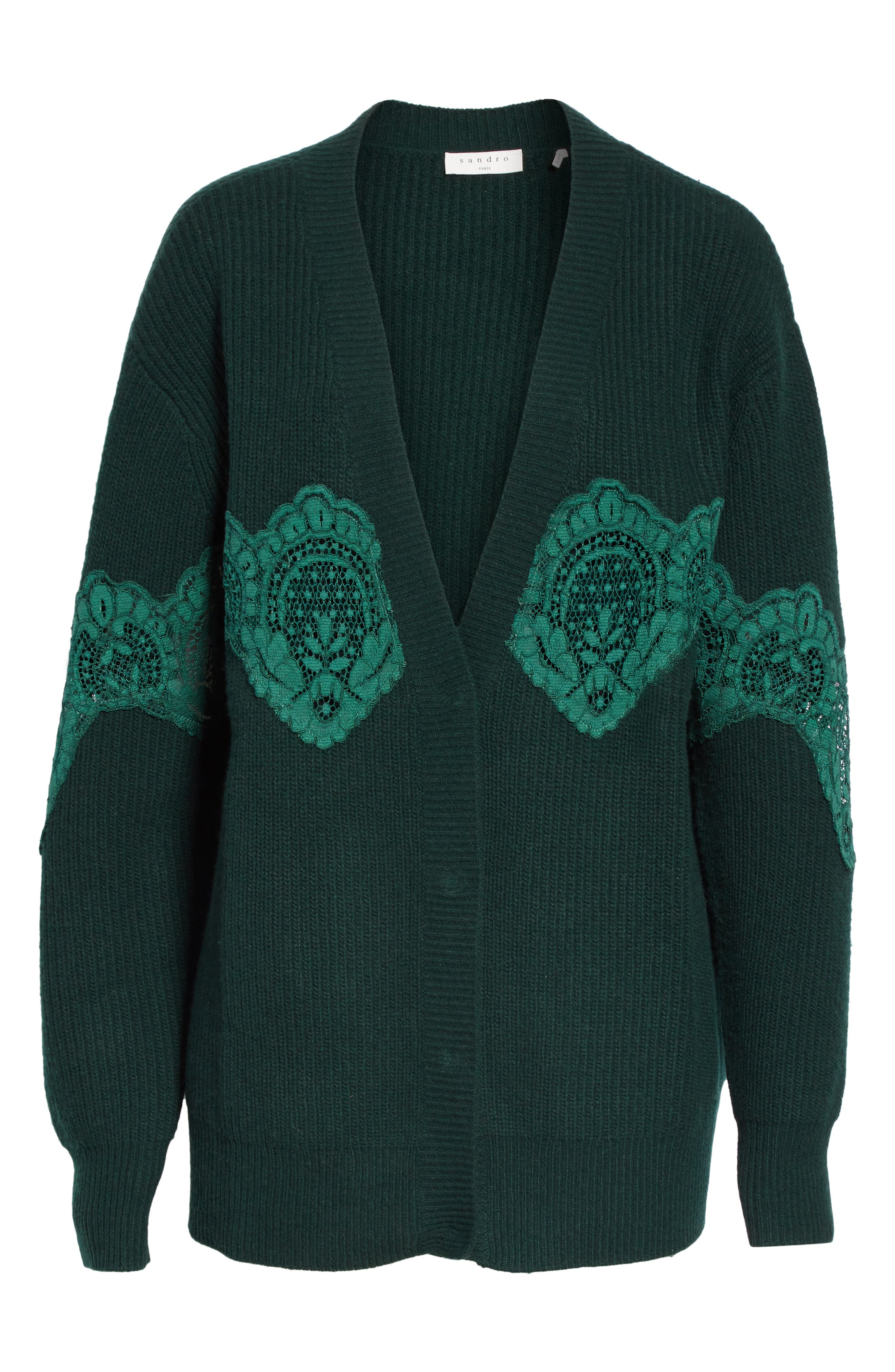 Tower Lace Inset Wool Blend Cardigan,                             Alternate thumbnail 6, color,                             BOTTLE GREEN