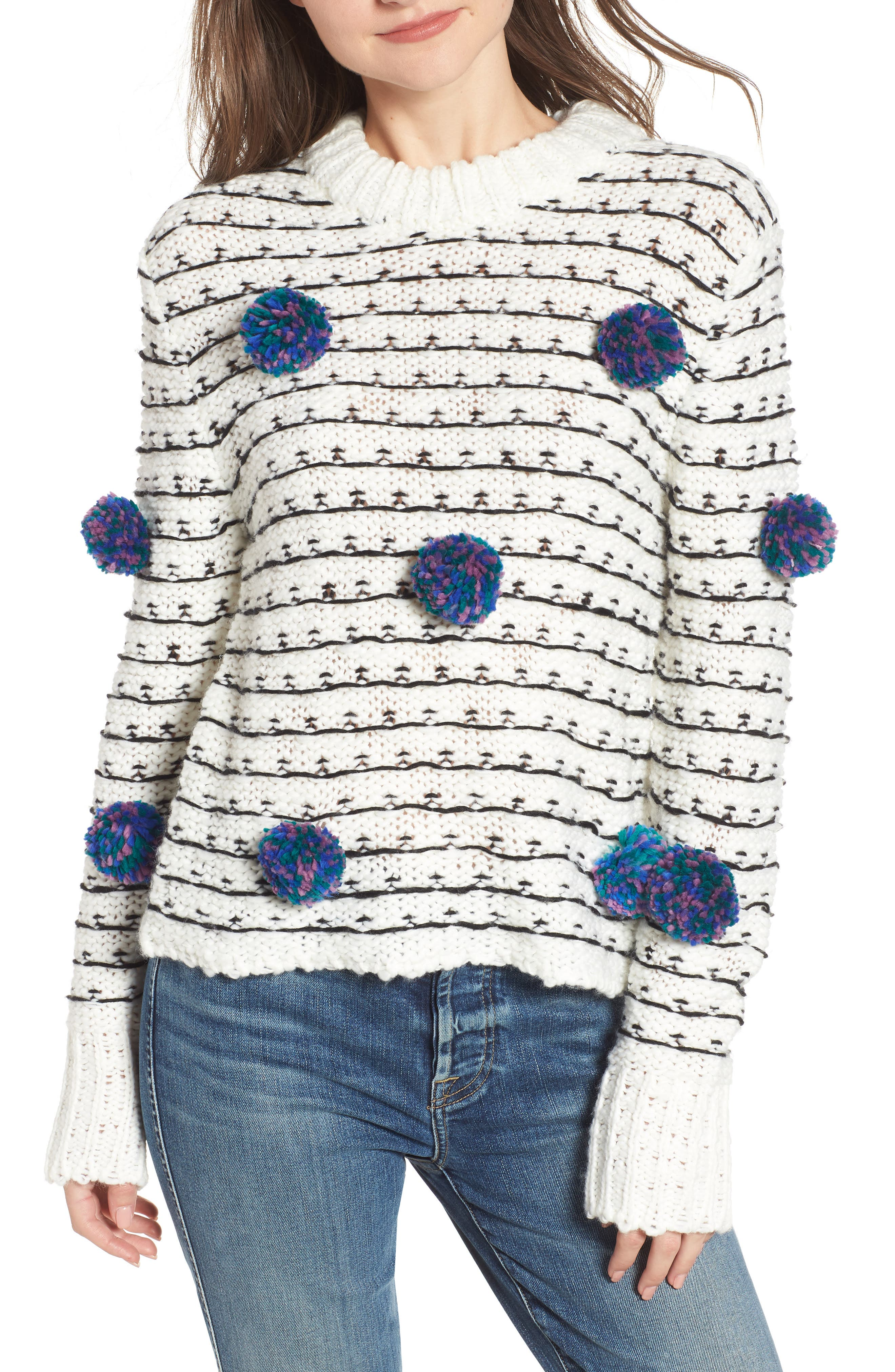 ENGLISH FACTORY Pompom Chunky Sweater in White