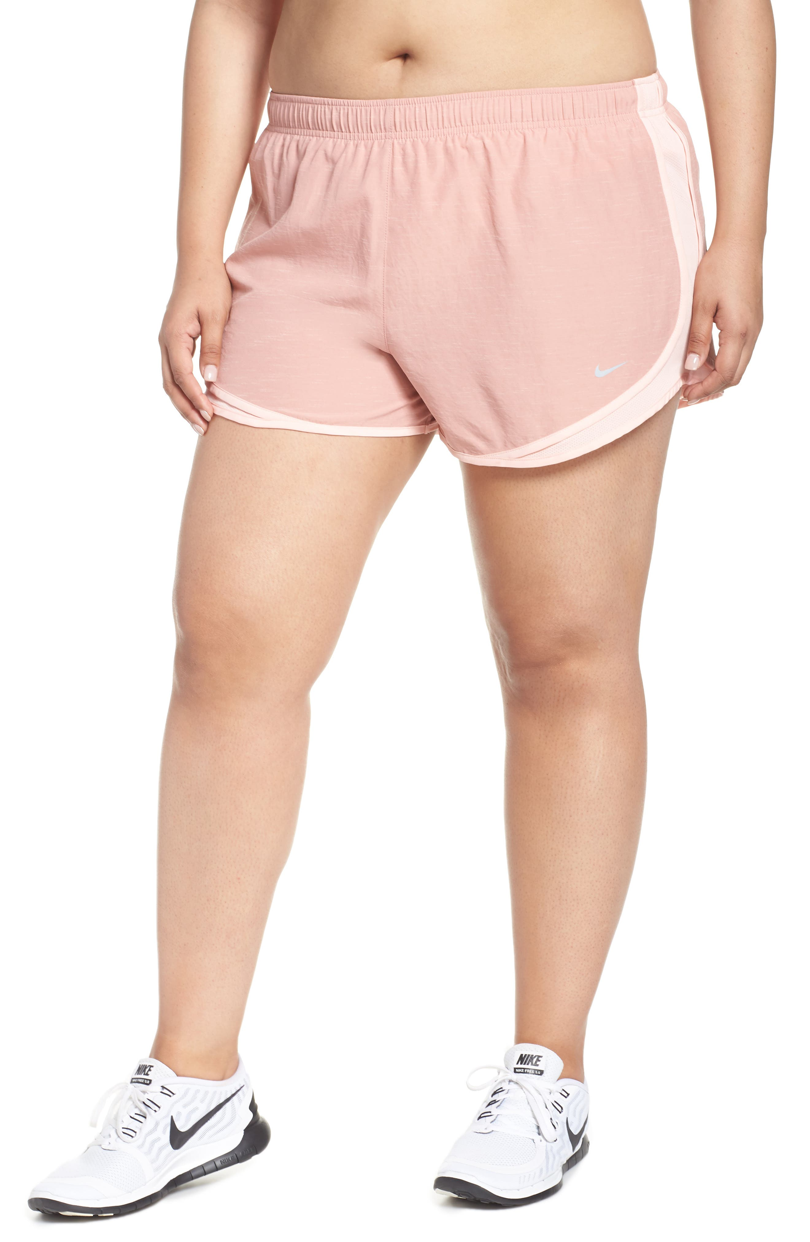 Dry Tempo High Rise Running Shorts,                             Main thumbnail 1, color,                             RUST PINK/ STORM PINK