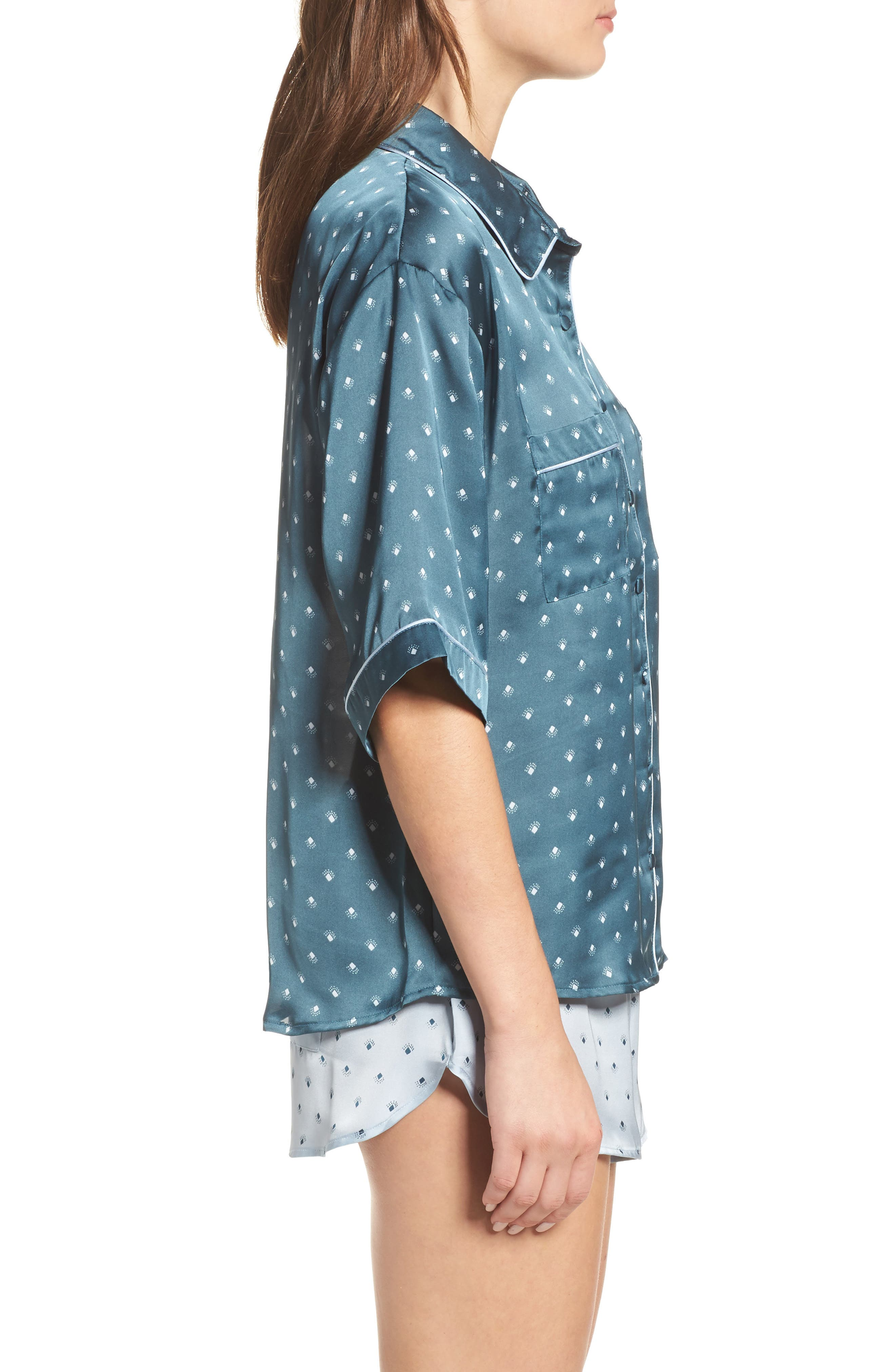 Short Satin Pajamas,                             Alternate thumbnail 8, color,