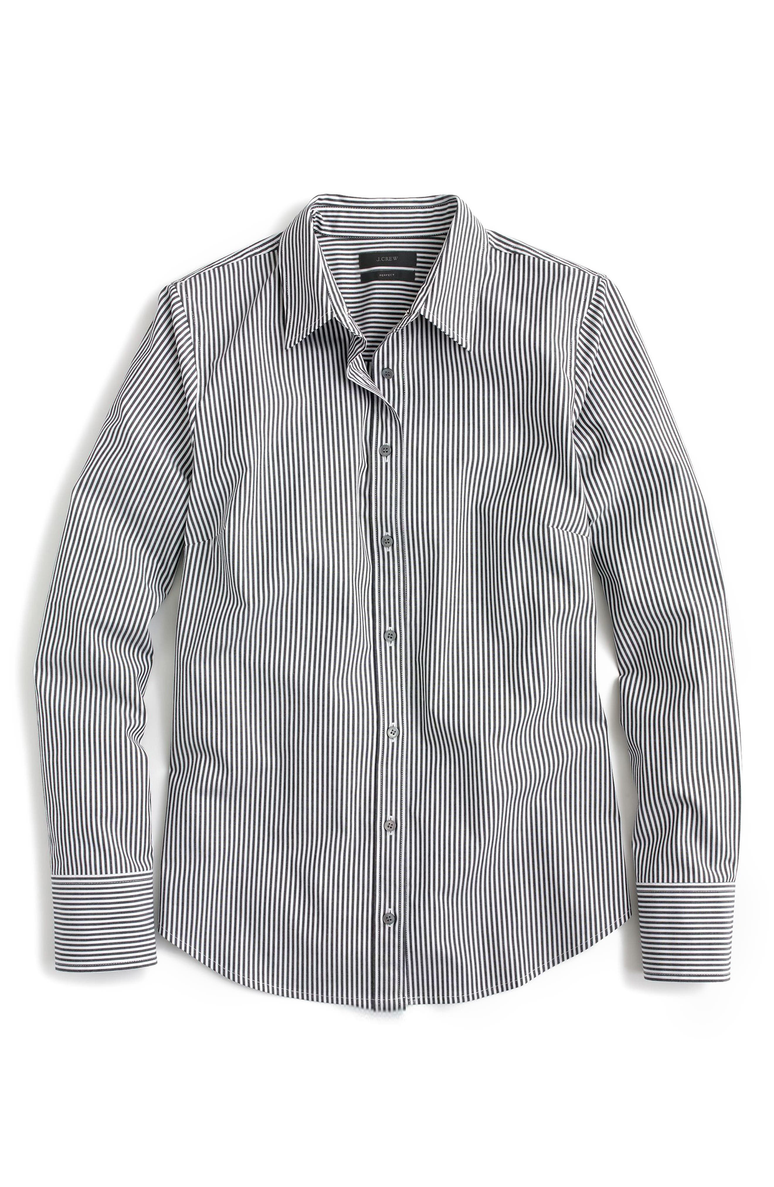 Classic Stripe Stretch Perfect Cotton Shirt,                             Main thumbnail 1, color,                             010