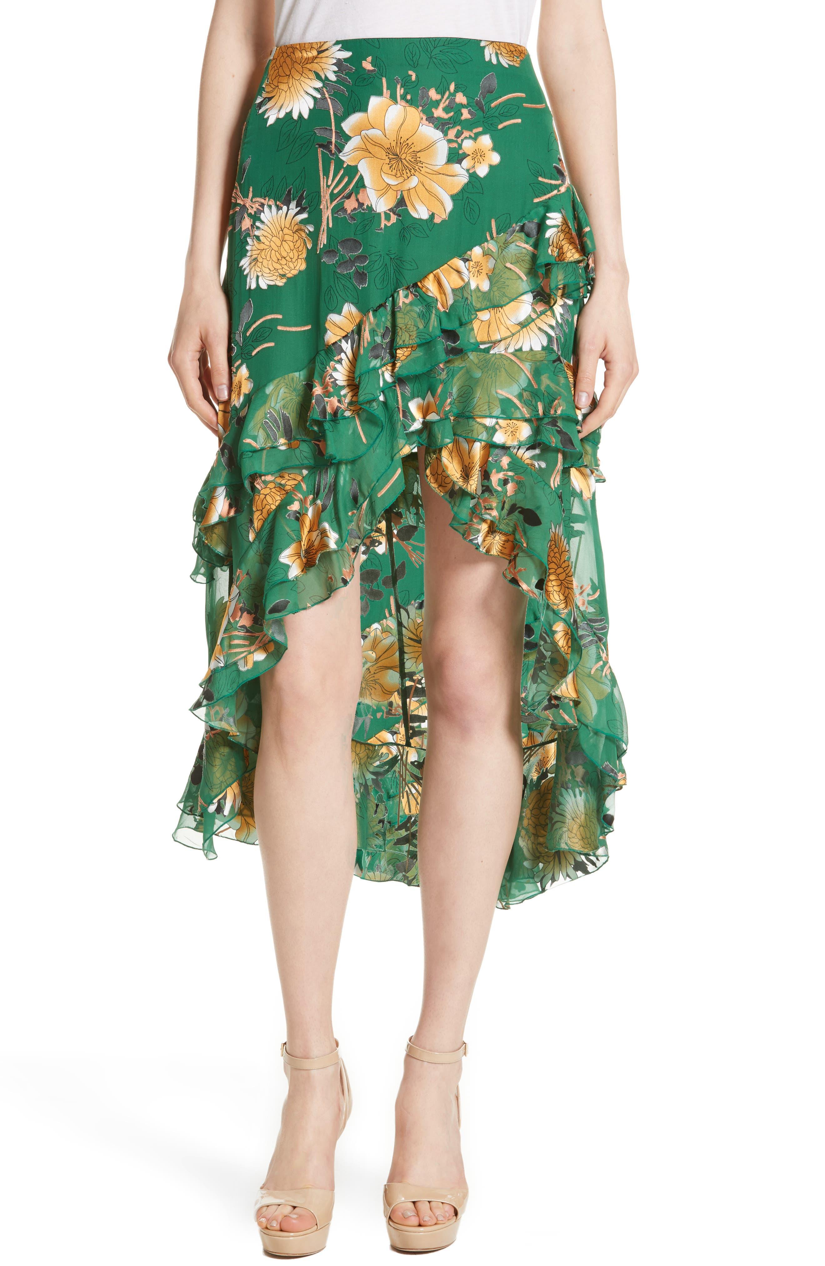 Sasha Ruffled Asymmetrical Floral Skirt,                         Main,                         color,