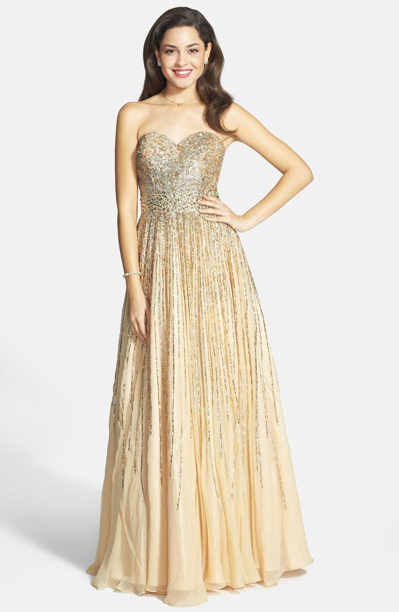 Sequin Coated Strapless Chiffon Gown