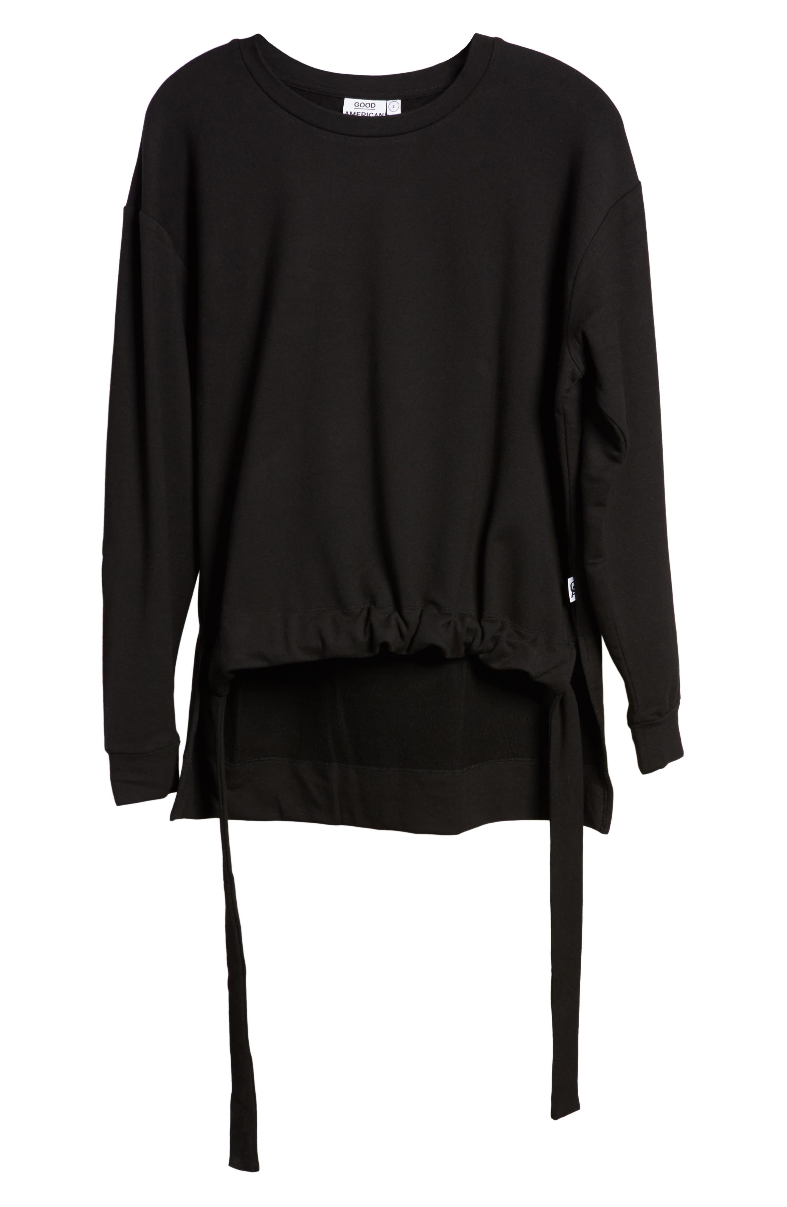 Ruched Hem High/Low Sweatshirt,                             Alternate thumbnail 4, color,                             BLACK001