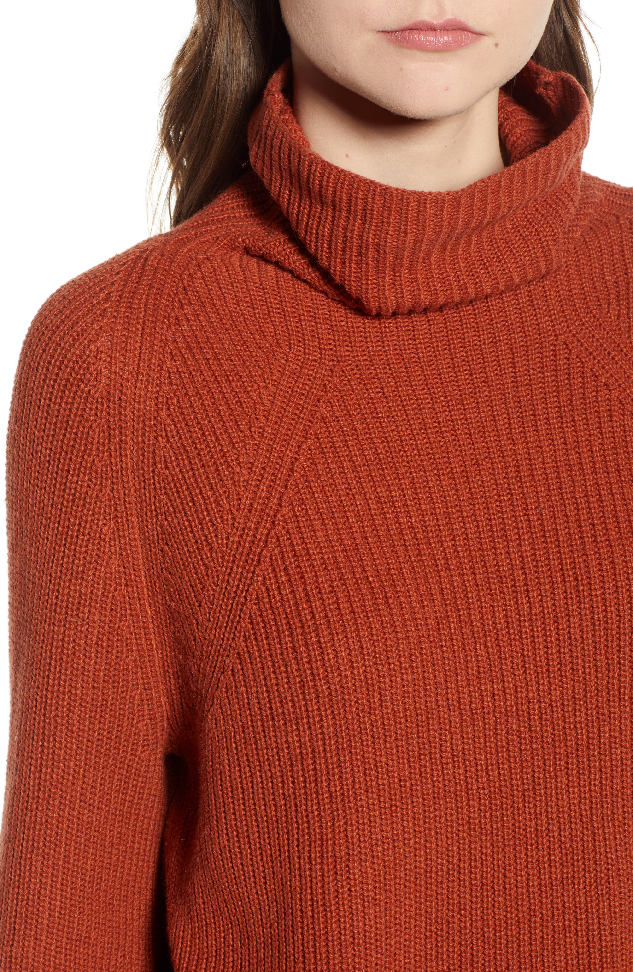 LEITH, Transfer Stitch Turtleneck Sweater, Alternate thumbnail 4, color, 210