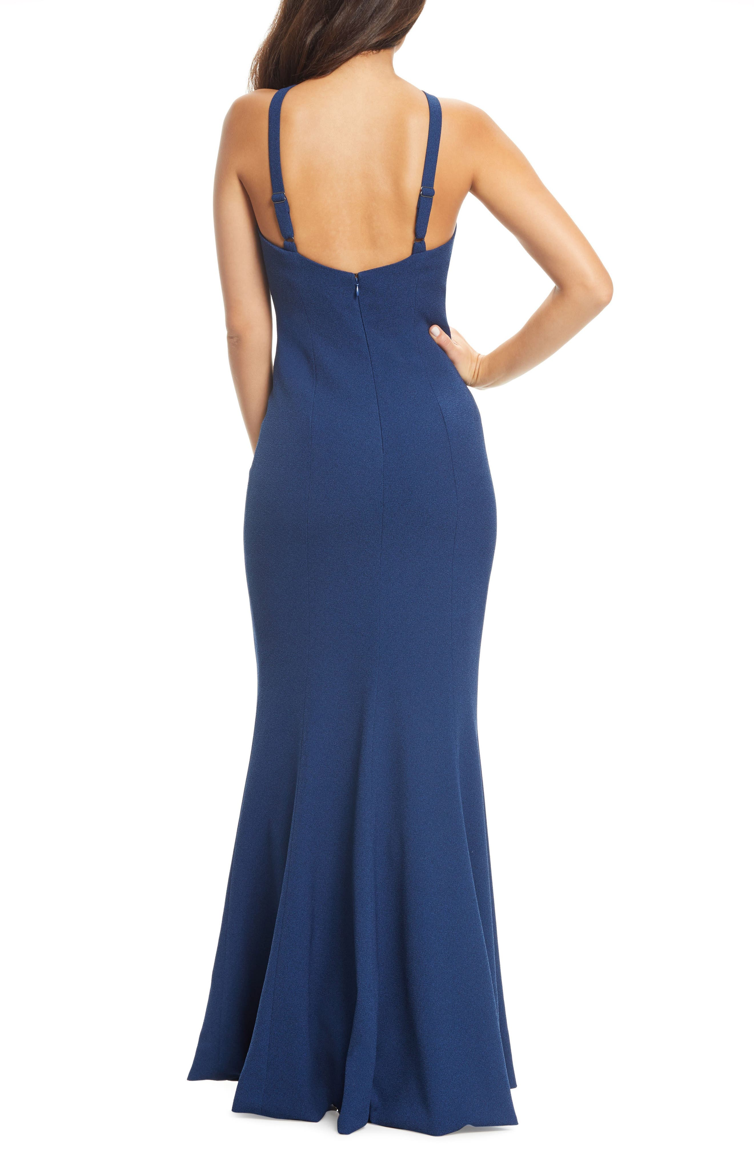 DRESS THE POPULATION,                             Brianna Halter Style Trumpet Gown,                             Alternate thumbnail 2, color,                             PACIFIC