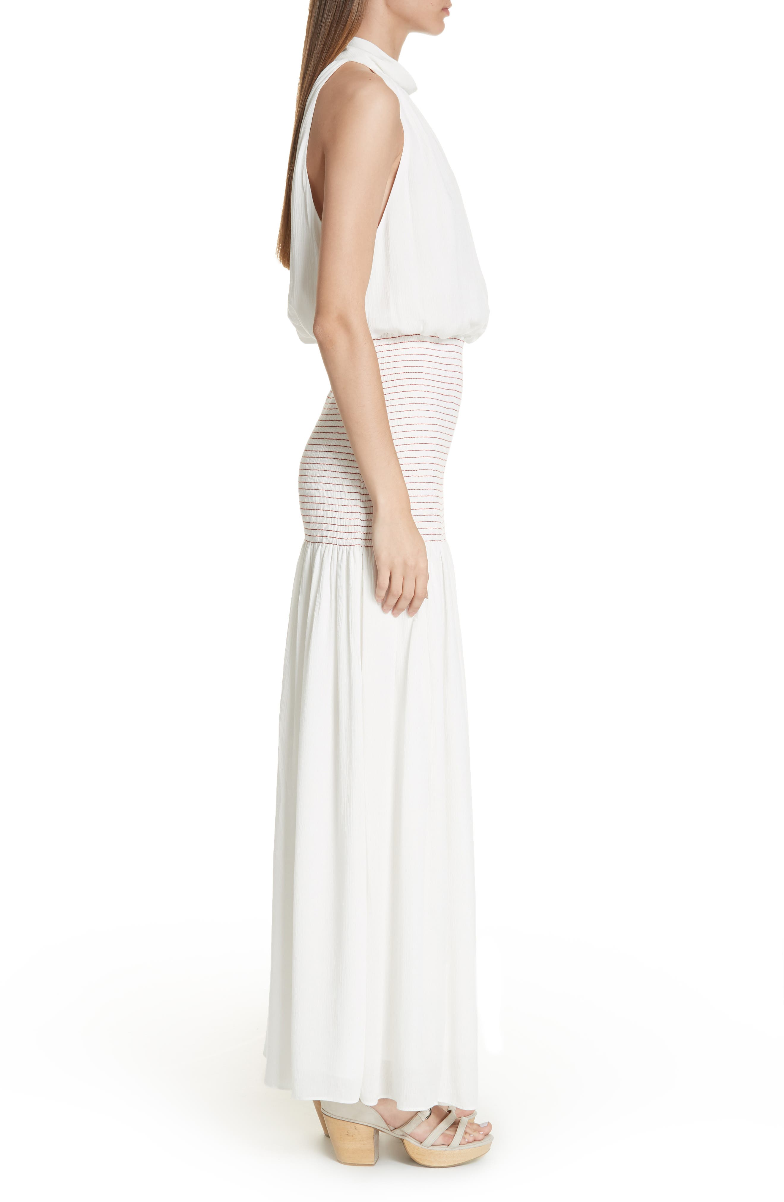 Festa Smocked Panel Maxi Dress,                             Alternate thumbnail 3, color,                             WHITE