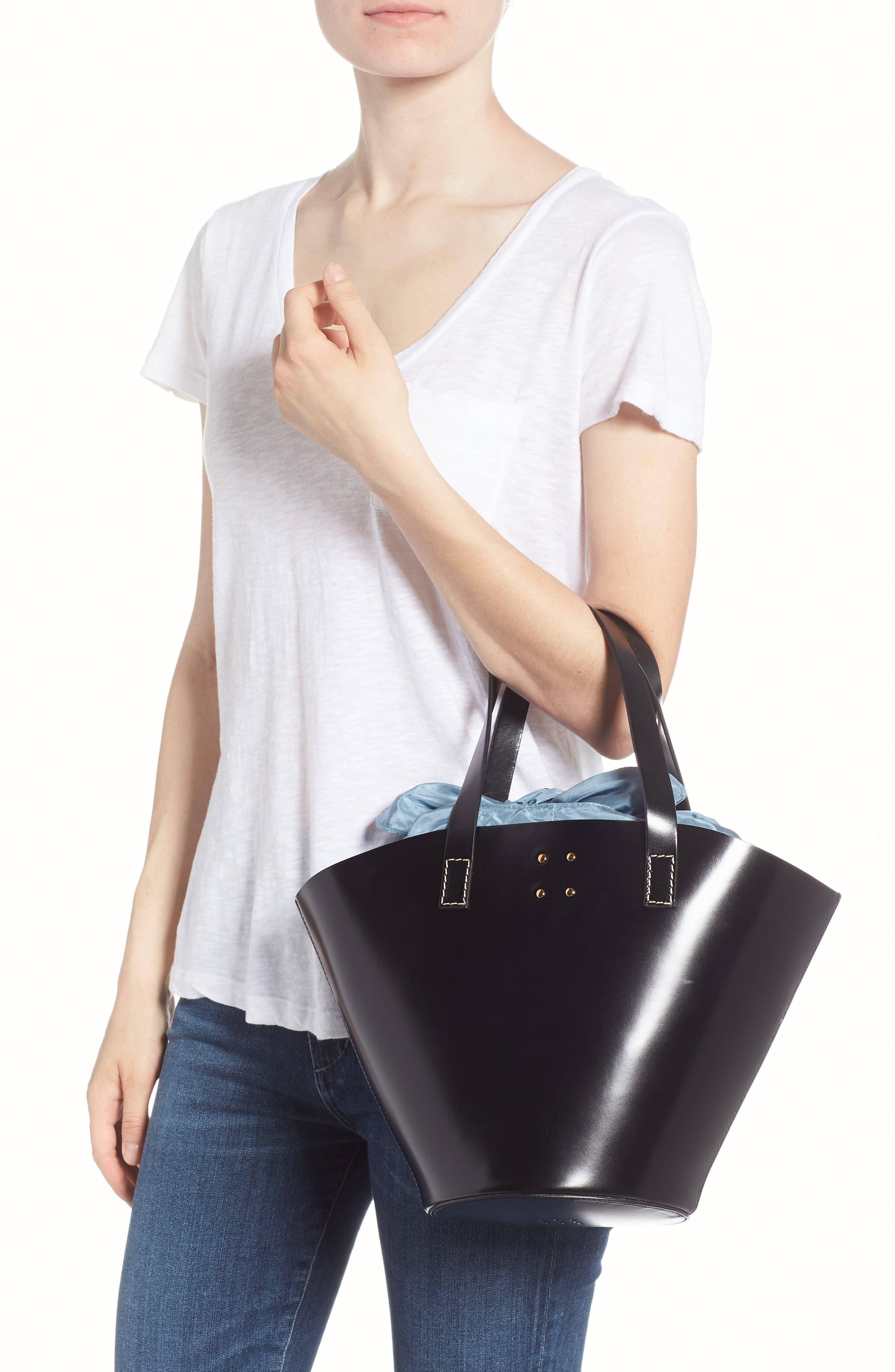 Large Leather Bucket Bag,                             Alternate thumbnail 2, color,                             BLACK W/ ENGLISH BLUE
