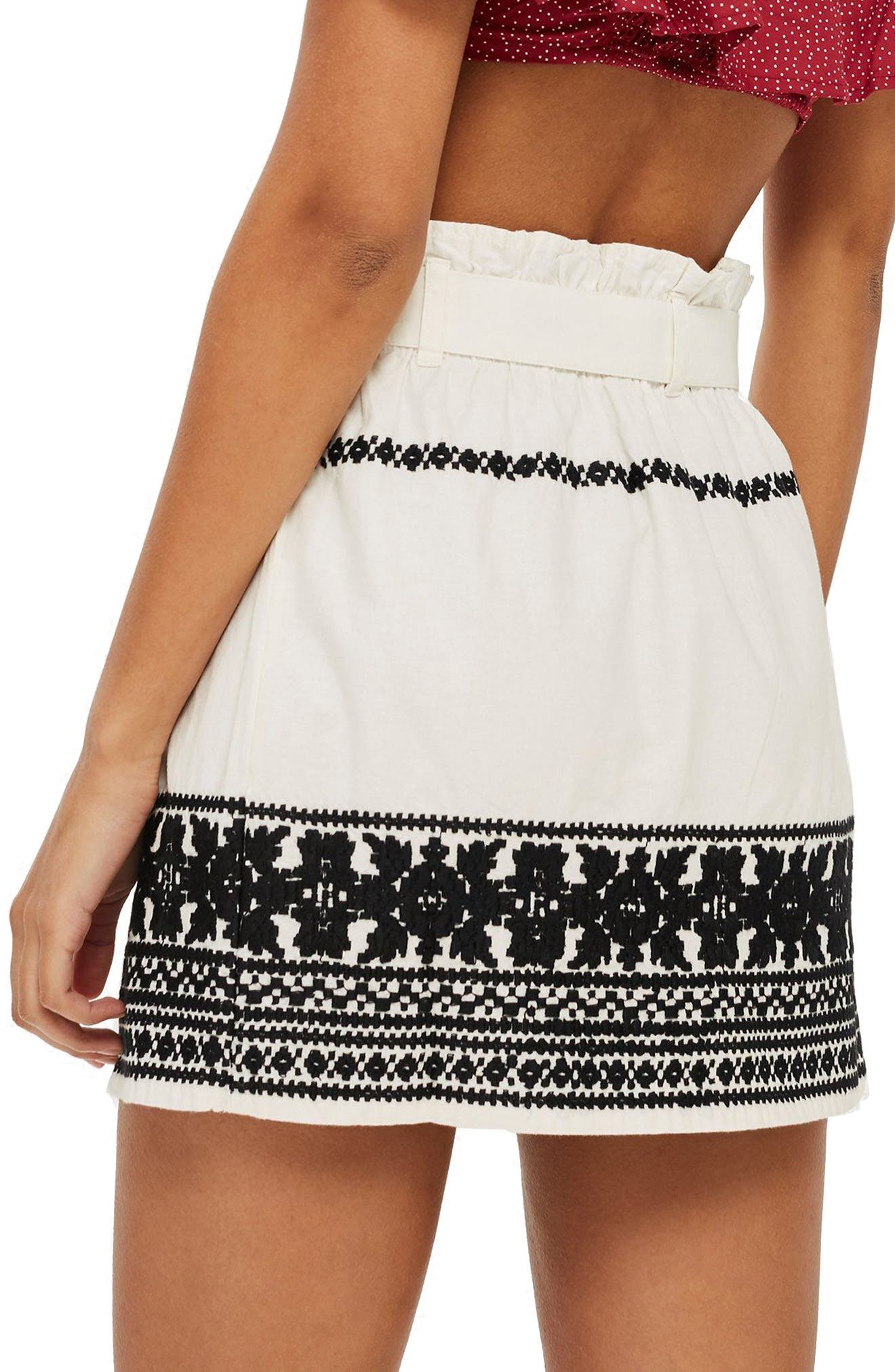 TOPSHOP,                             Culture Embroidered Paperbag Skirt,                             Alternate thumbnail 2, color,                             900