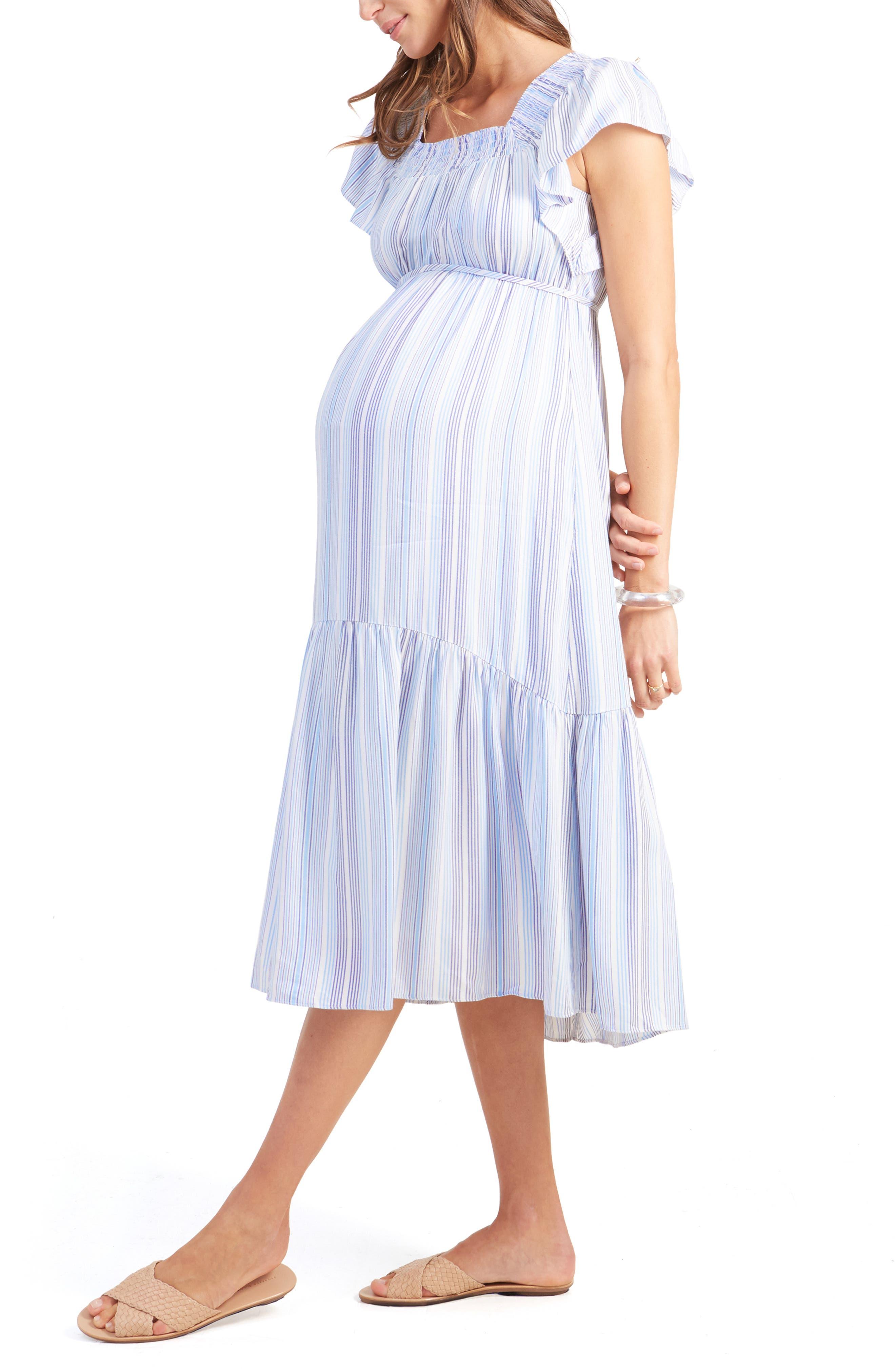 INGRID & ISABEL<SUP>®</SUP>,                             Flutter Sleeve Maternity Midi Dress,                             Alternate thumbnail 3, color,                             BLUE MULTI STRIPE
