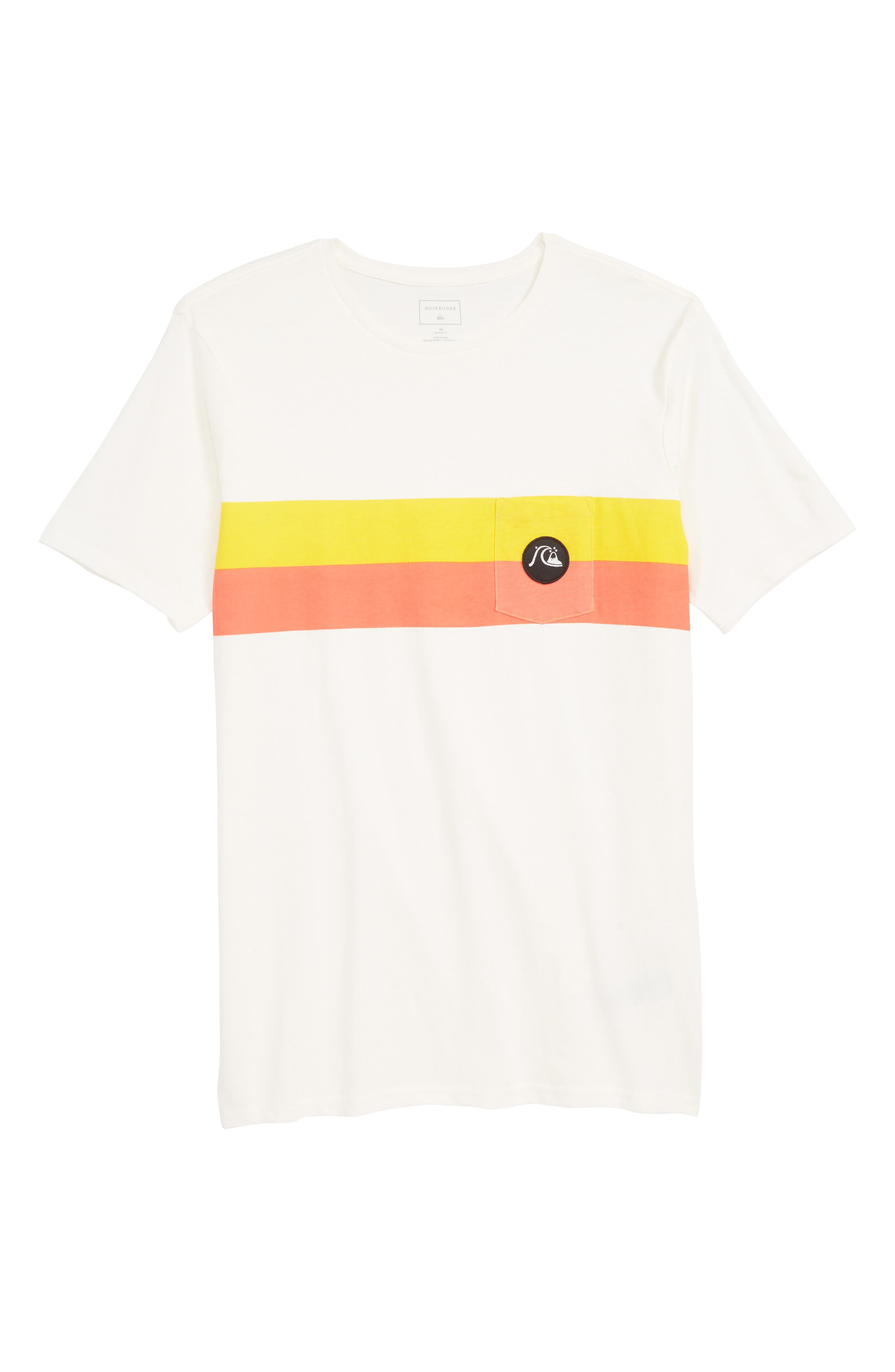 QUIKSILVER,                             Season Stripe Pocket T-Shirt,                             Main thumbnail 1, color,                             GARDENIA