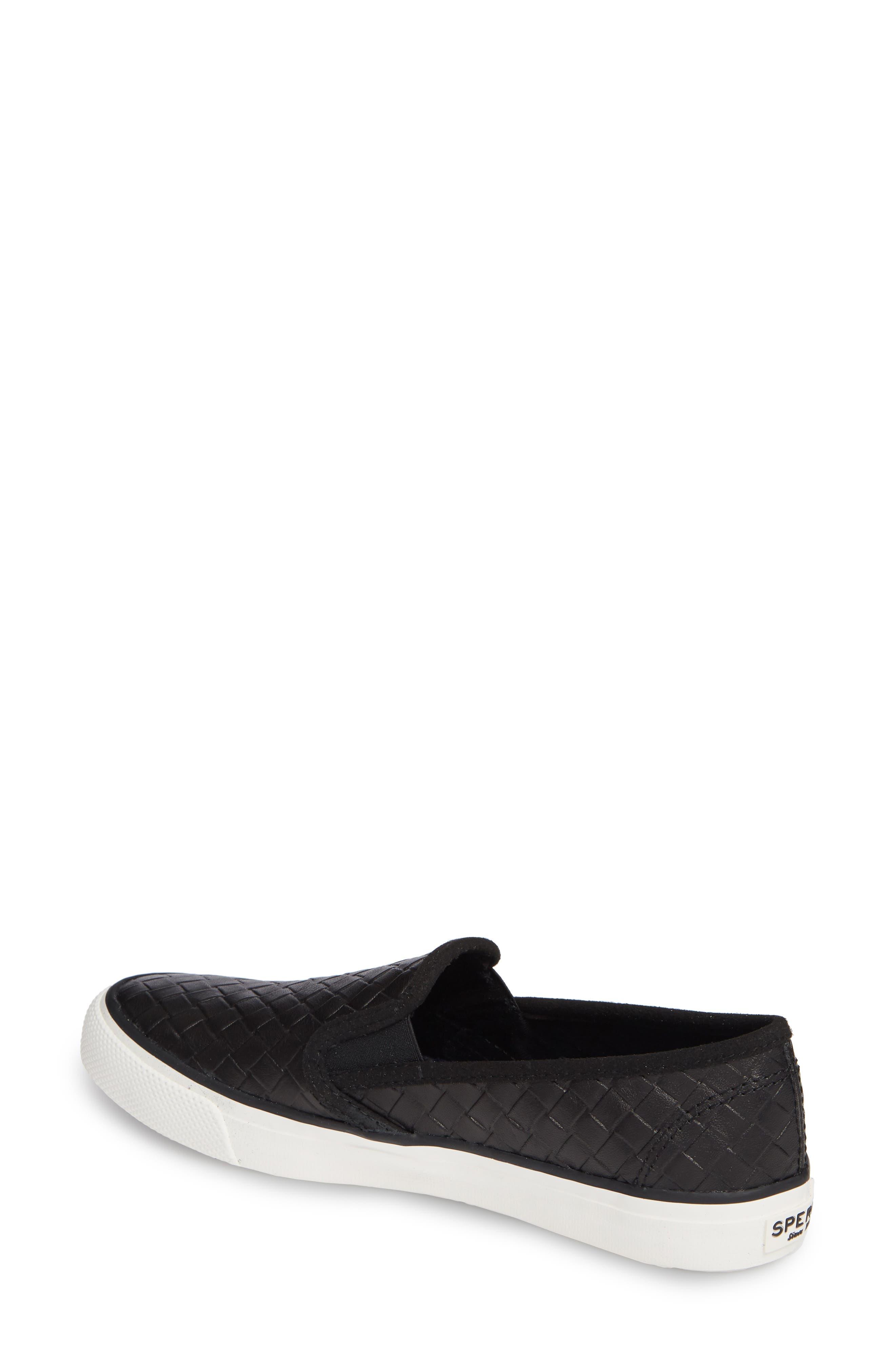 Seaside Embossed Weave Slip-On Sneaker,                             Alternate thumbnail 2, color,                             001