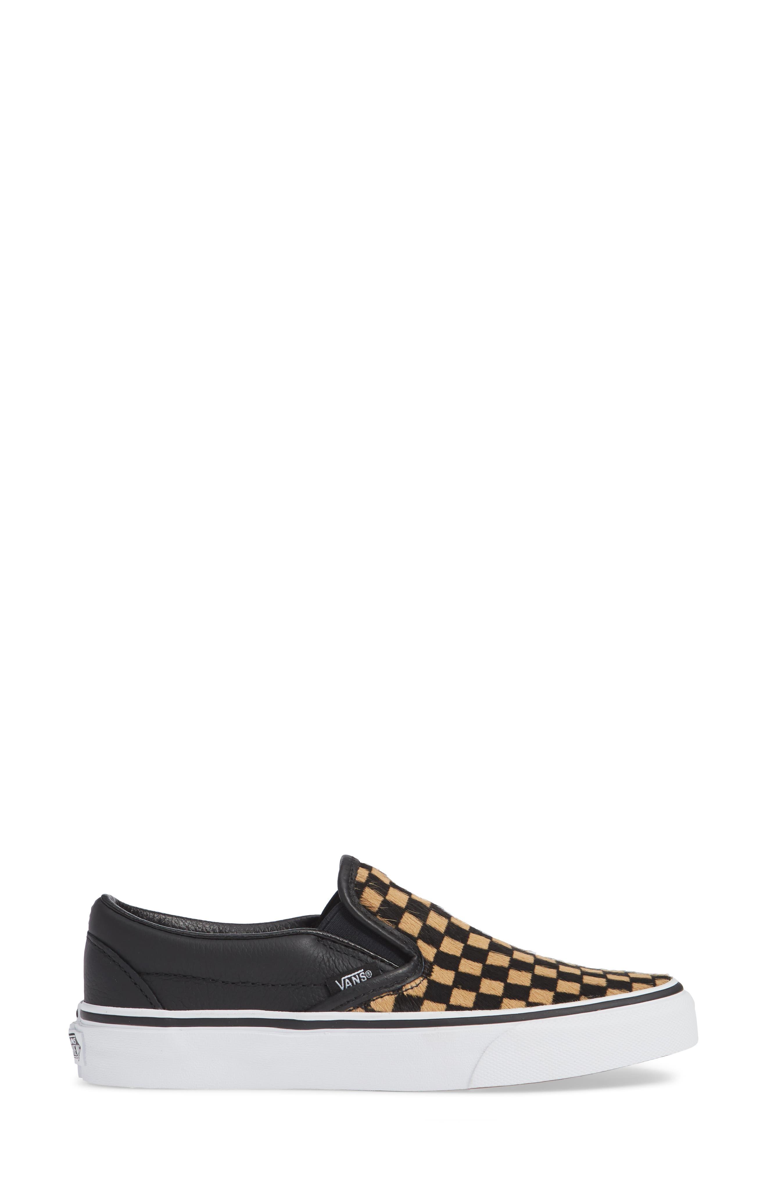 VANS,                             UA Classic Genuine Calf Hair Slip-On Sneaker,                             Alternate thumbnail 3, color,                             001