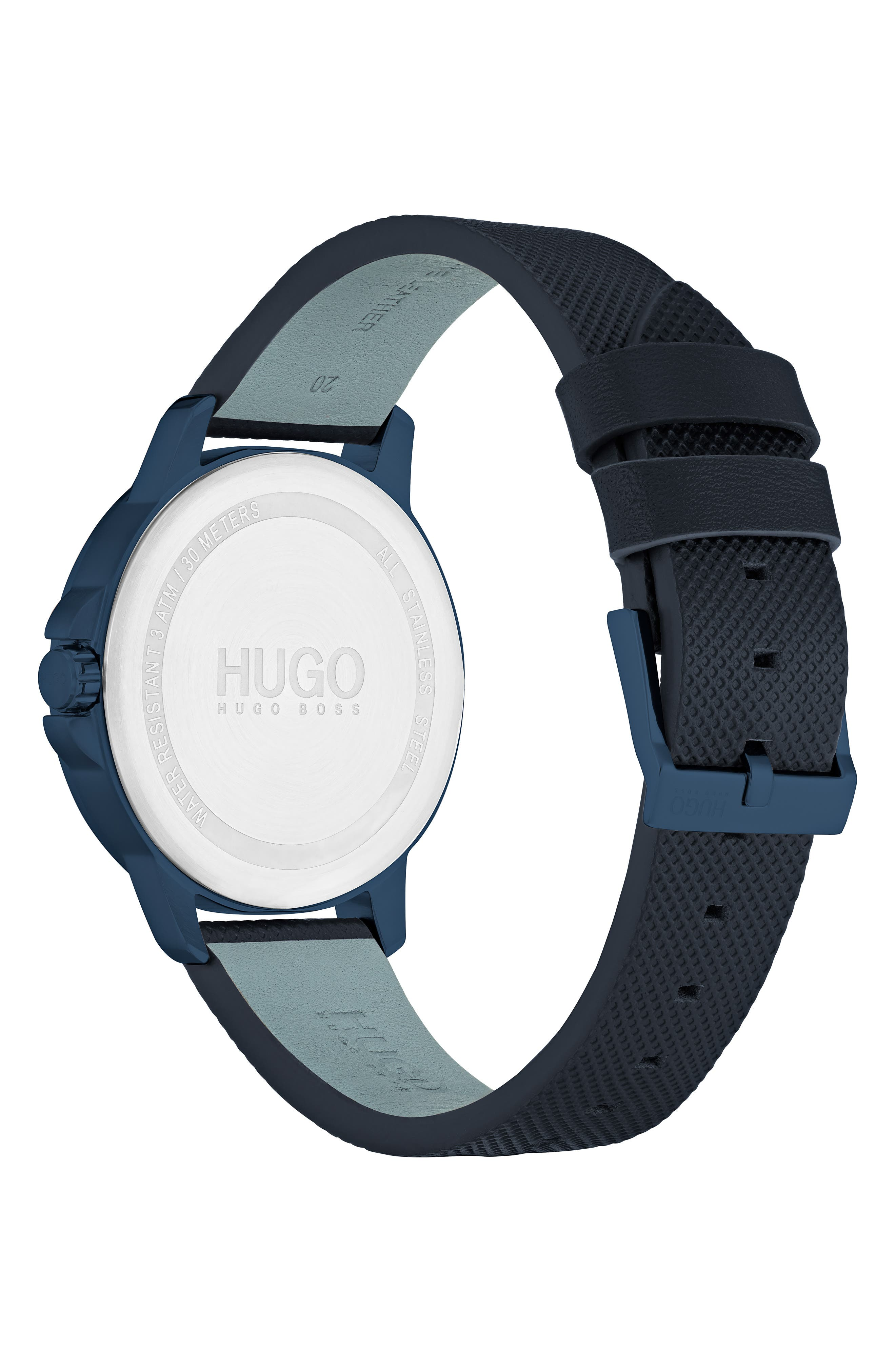 Leather Strap Watch, 42mm,                             Alternate thumbnail 2, color,                             BLUE