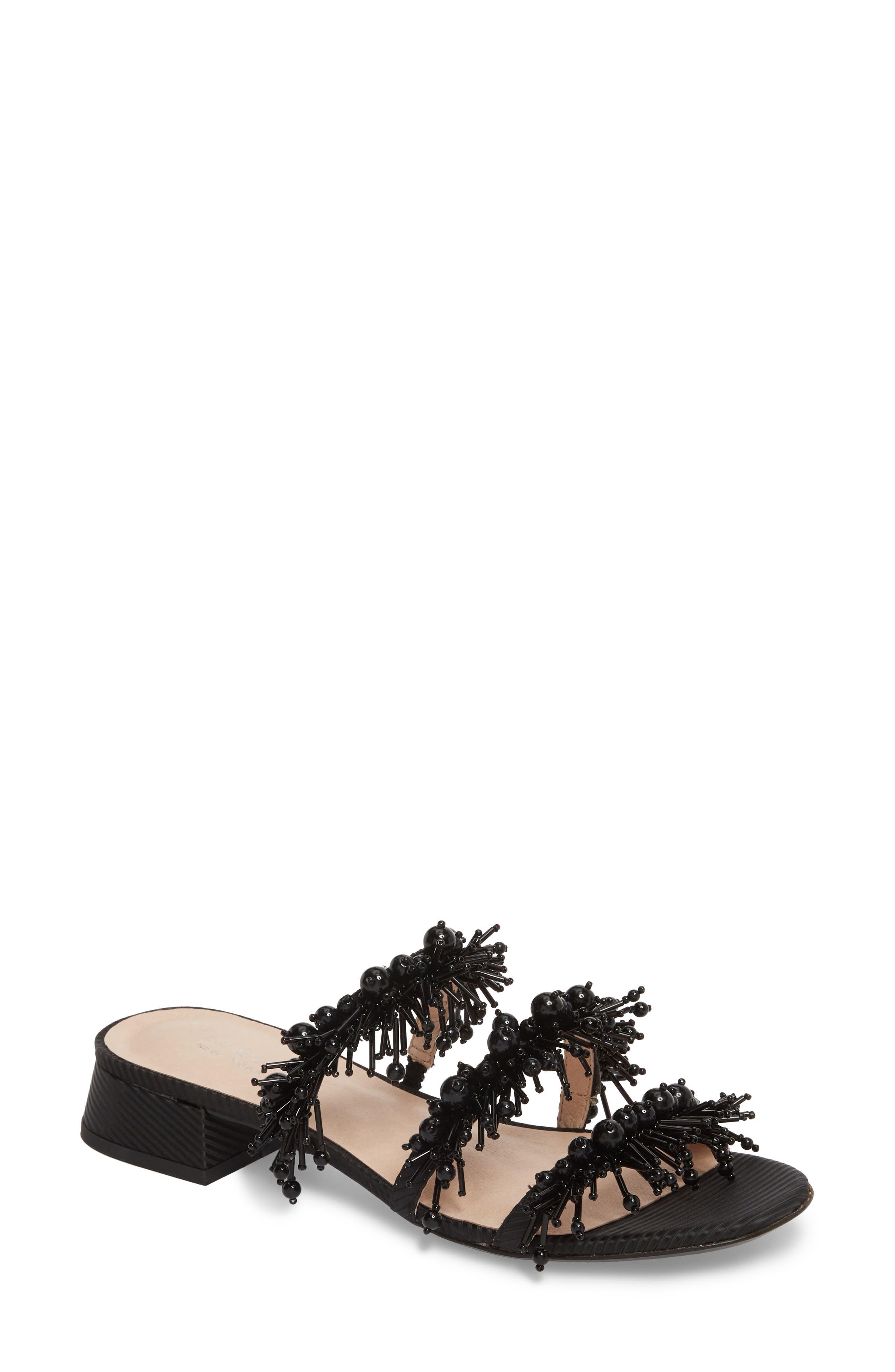 Fes Embellished Slide Sandal,                         Main,                         color, BLACK FABRIC