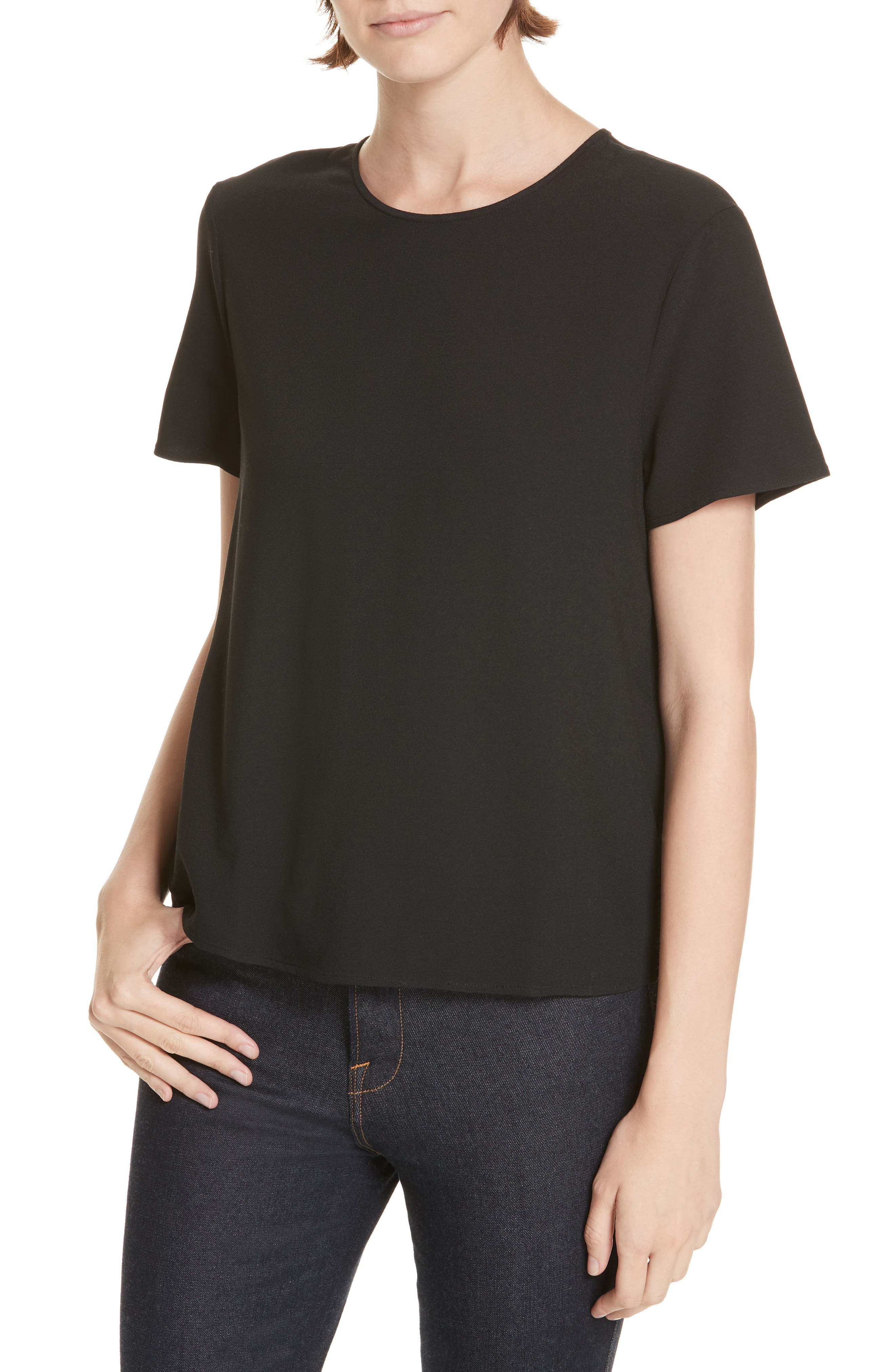 Crepe Tee,                         Main,                         color, BLACK