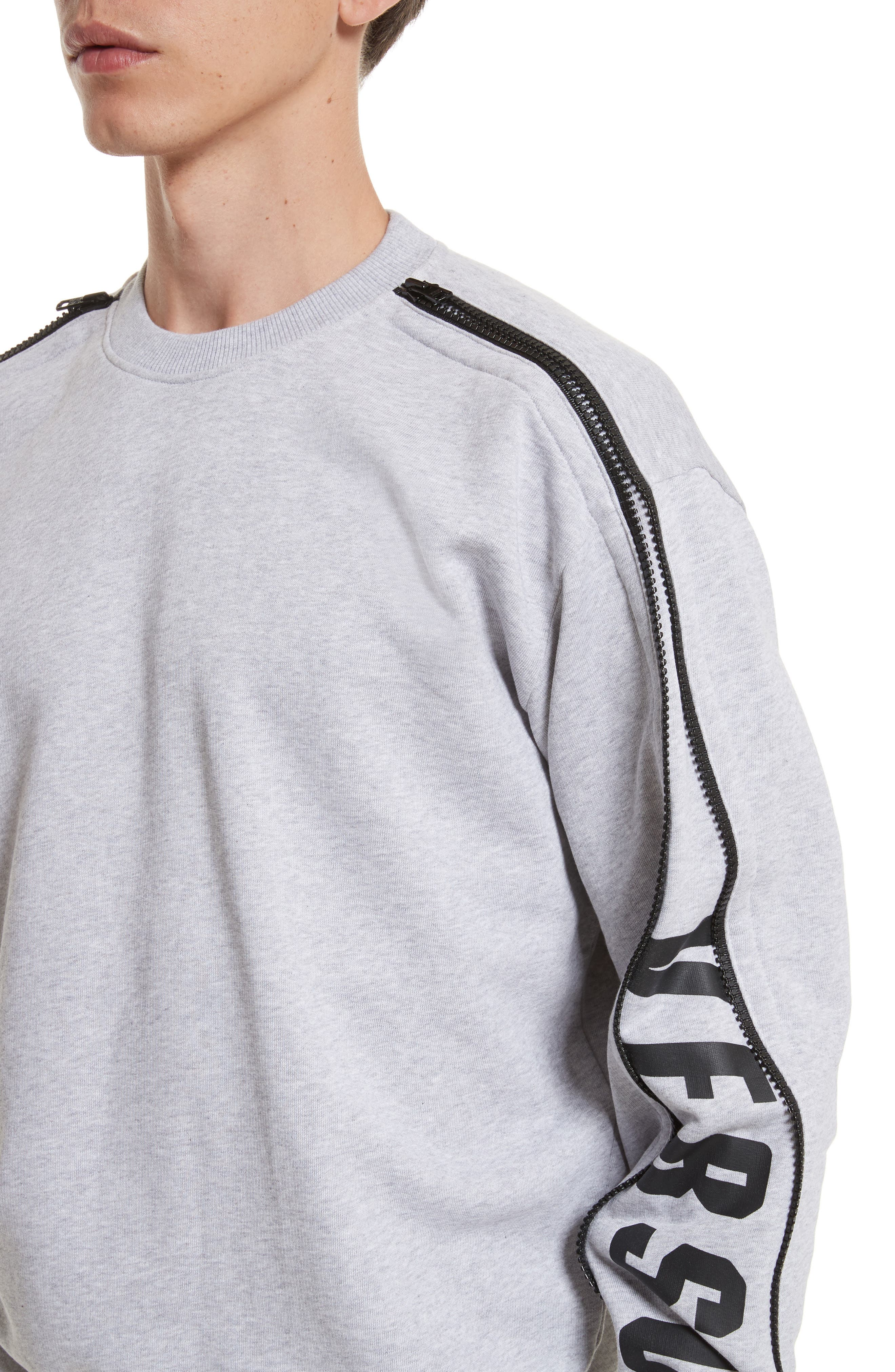 Zip Sleeve Crewneck Sweatshirt,                             Alternate thumbnail 4, color,                             GREY