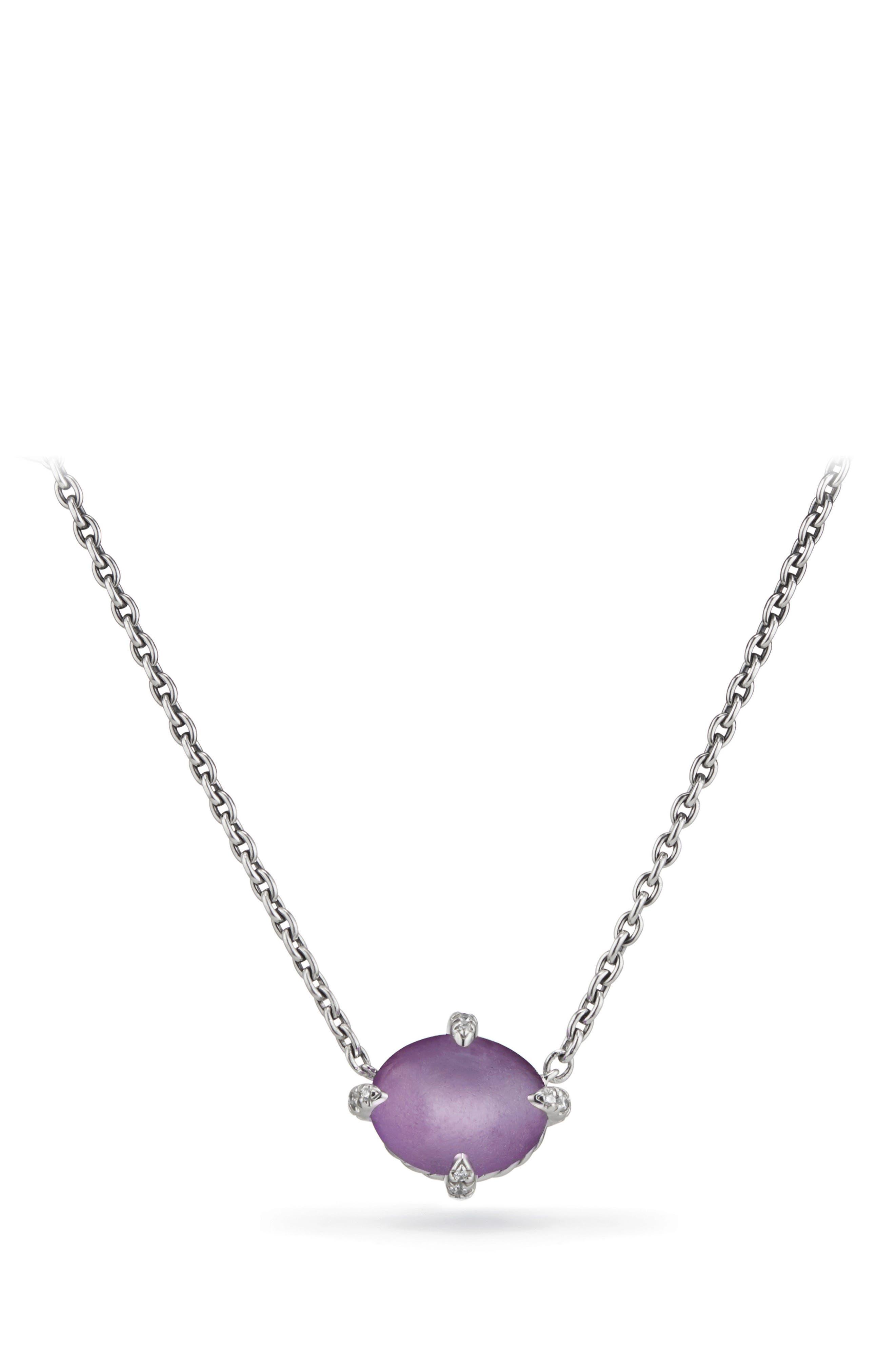 Chatelaine<sup>®</sup> Gemstone & Diamond Necklace, Main, color, SILVER/ DIAMOND/ AMETHYST