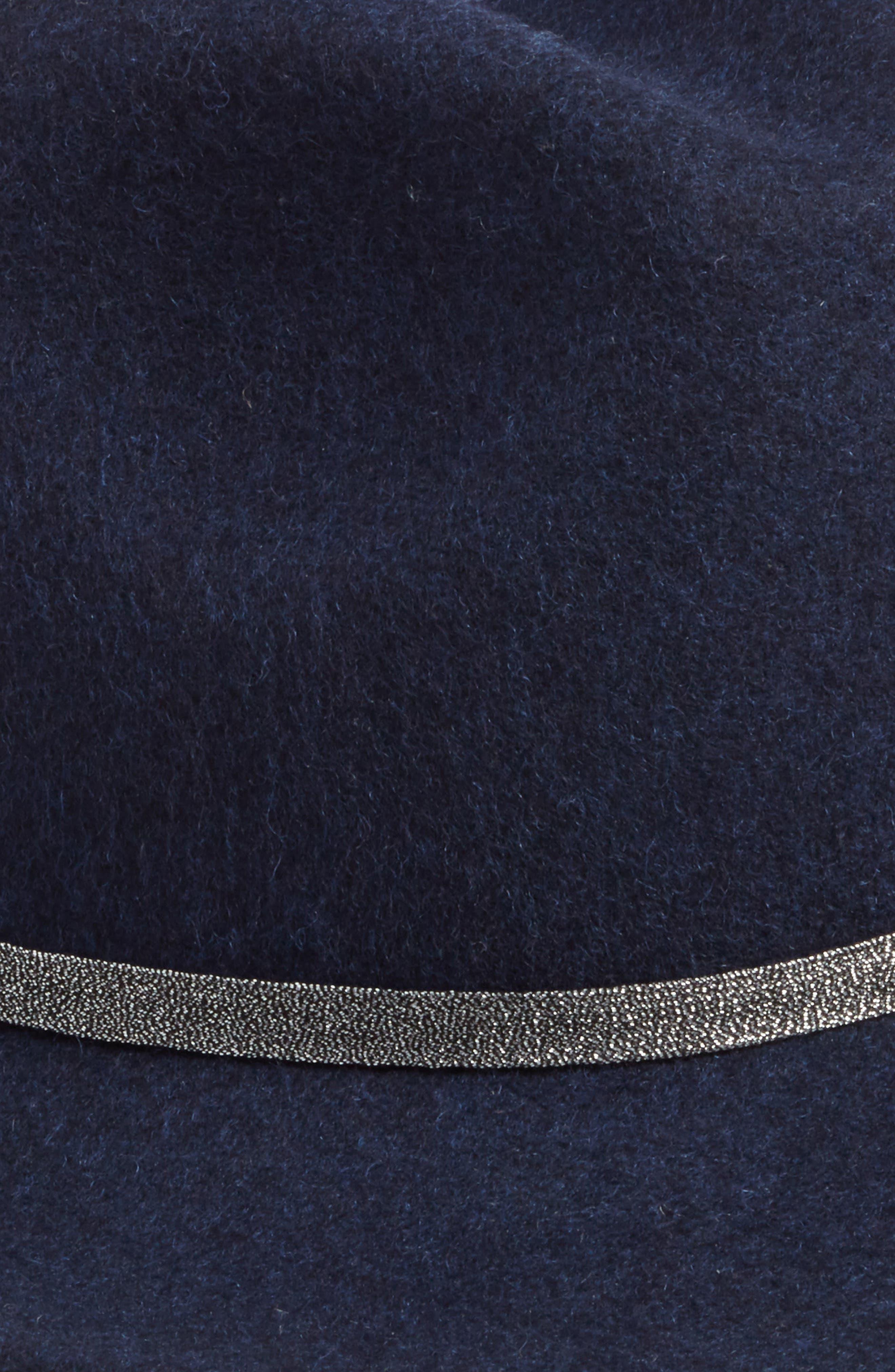 Metallic Band Wool Felt Panama Hat,                             Alternate thumbnail 8, color,