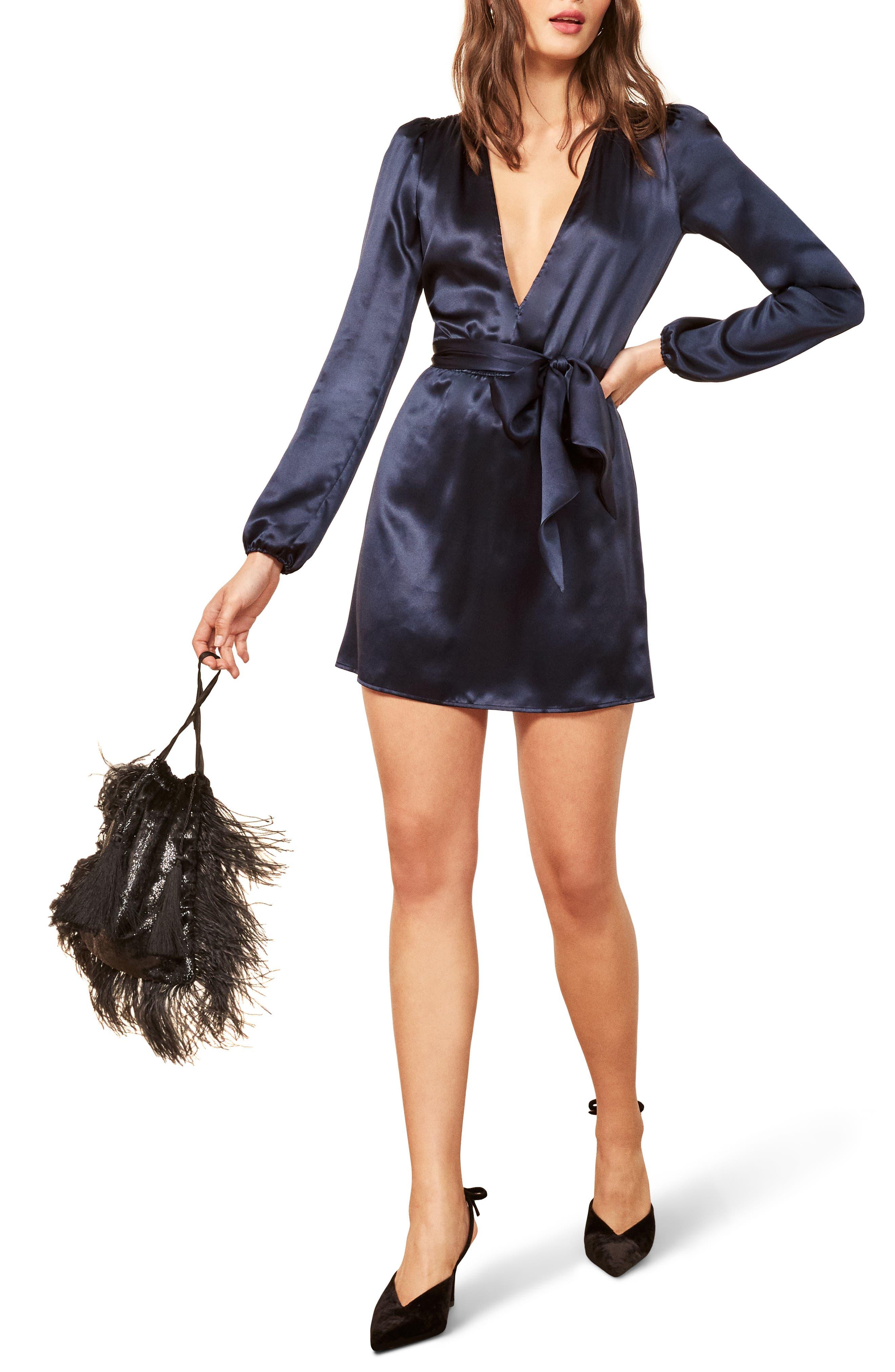 Nora V-Neck Dress,                         Main,                         color, NAVY