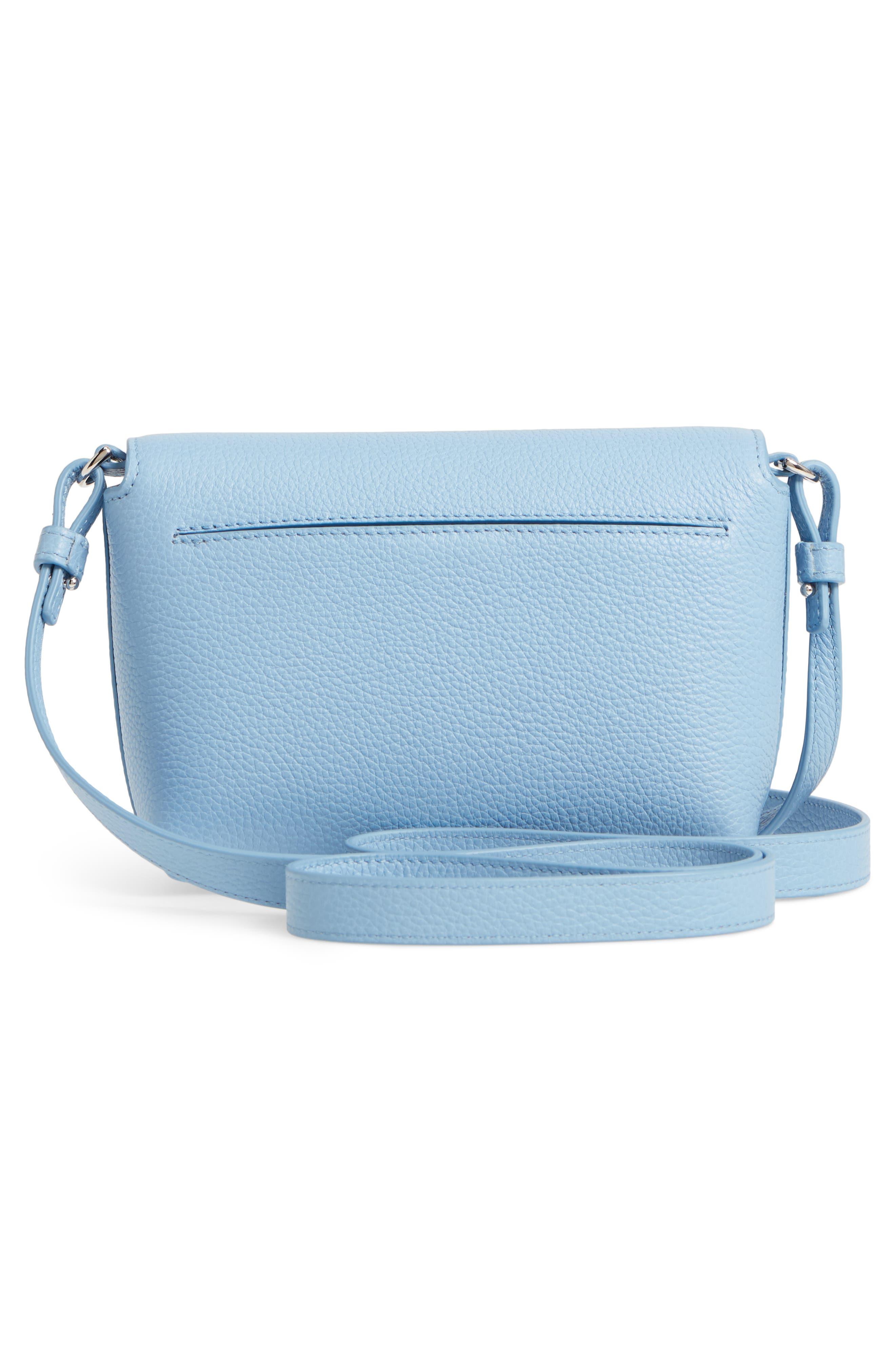 Little Anouk Calfskin Crossbody Bag,                             Alternate thumbnail 4, color,                             POWDER BLUE