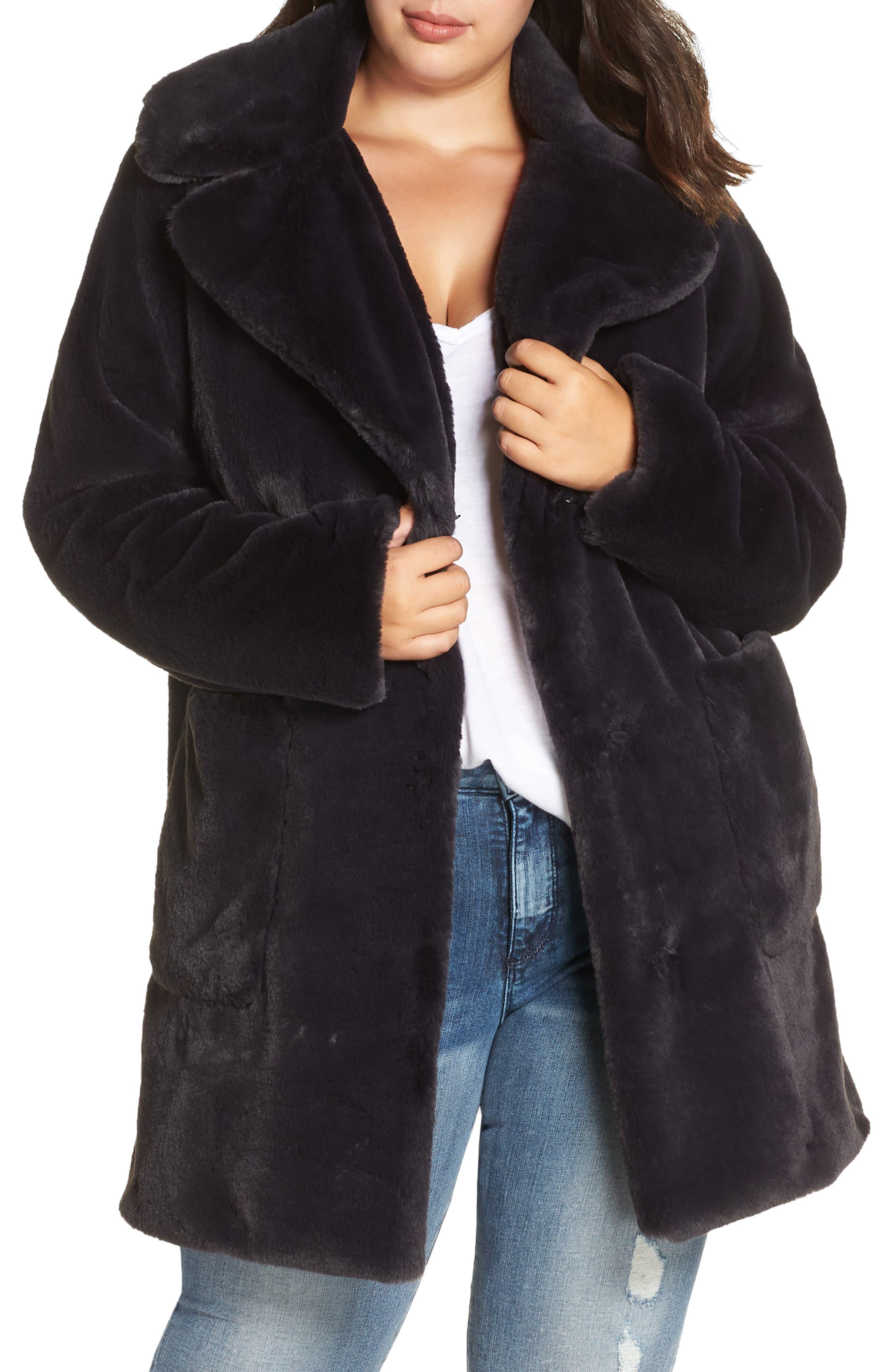 Faux Fur Coat,                             Main thumbnail 1, color,                             SLATE