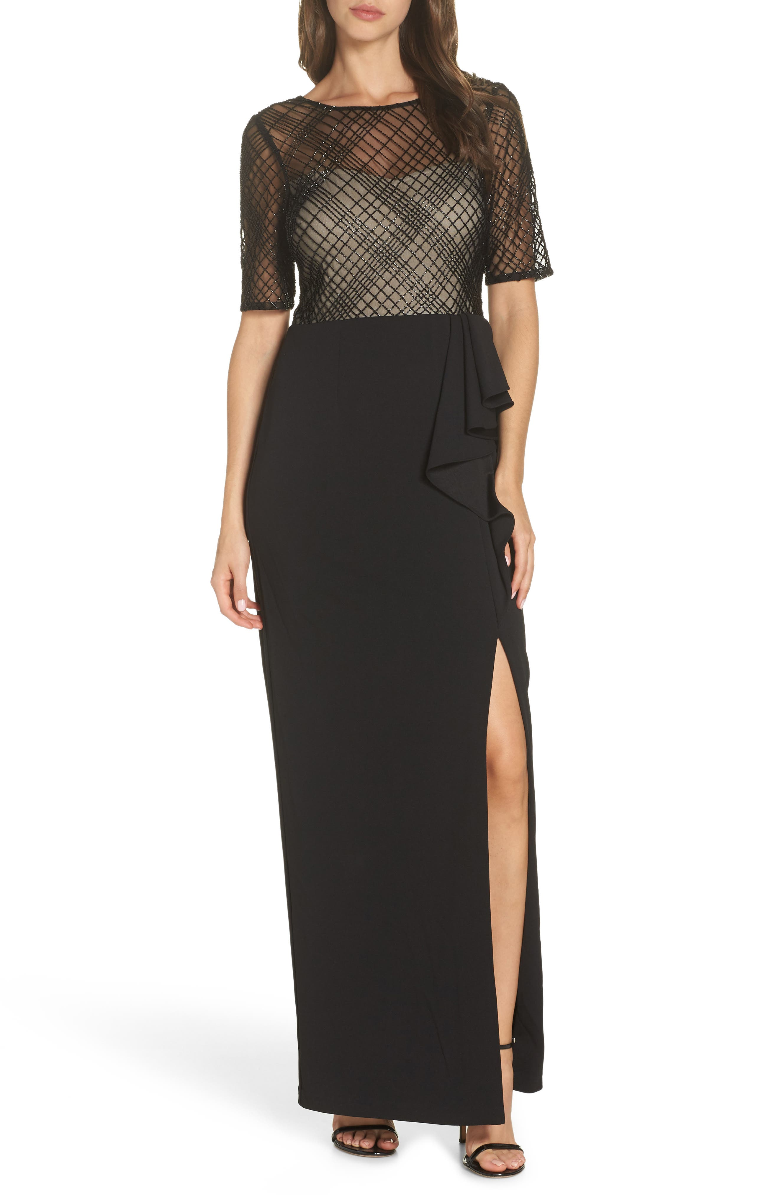 Adrianna Papell Plaid Bead Bodice Gown, Black