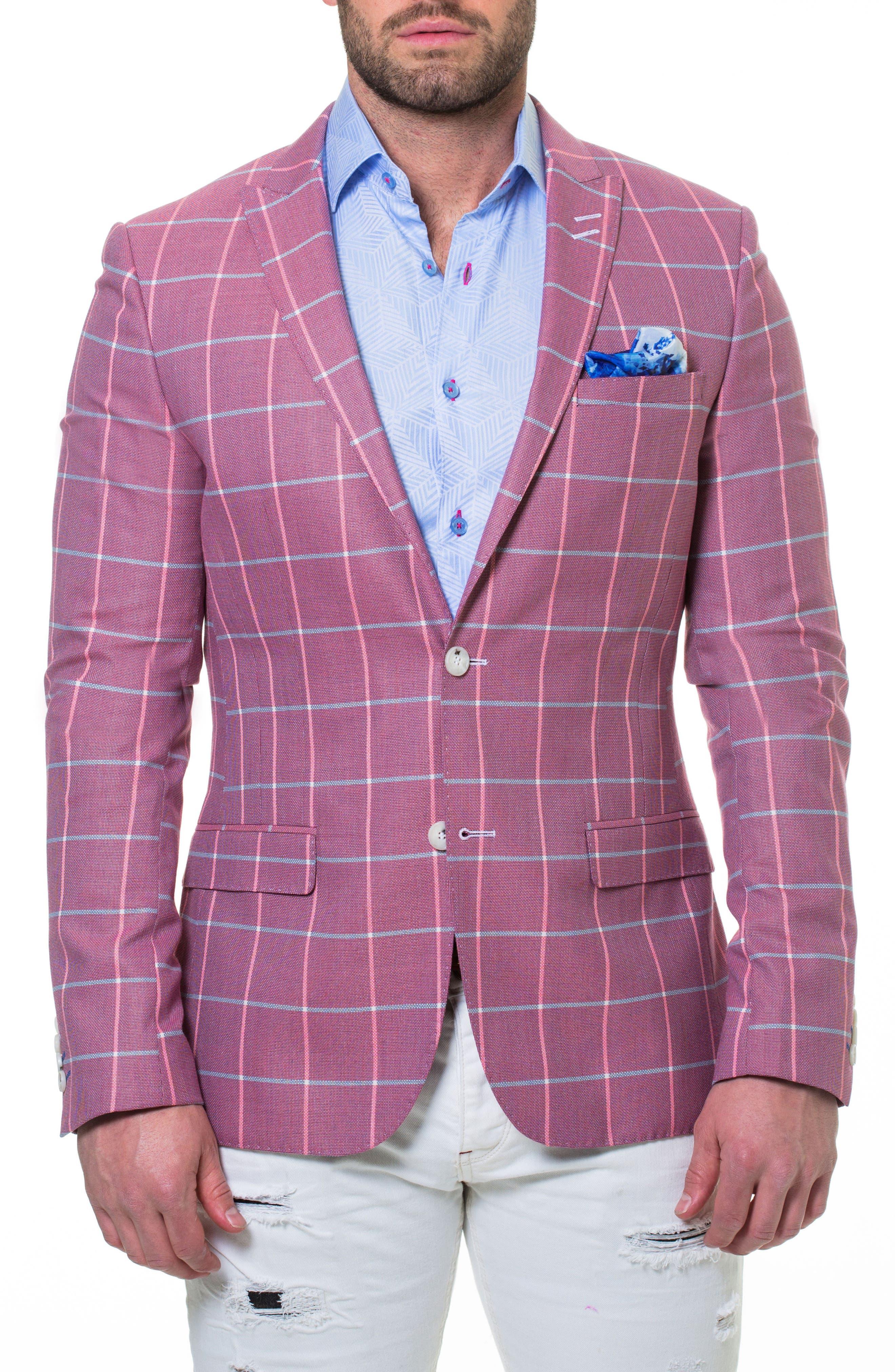 Descartes Check Linen & Cotton Blend Sport Coat,                             Main thumbnail 1, color,