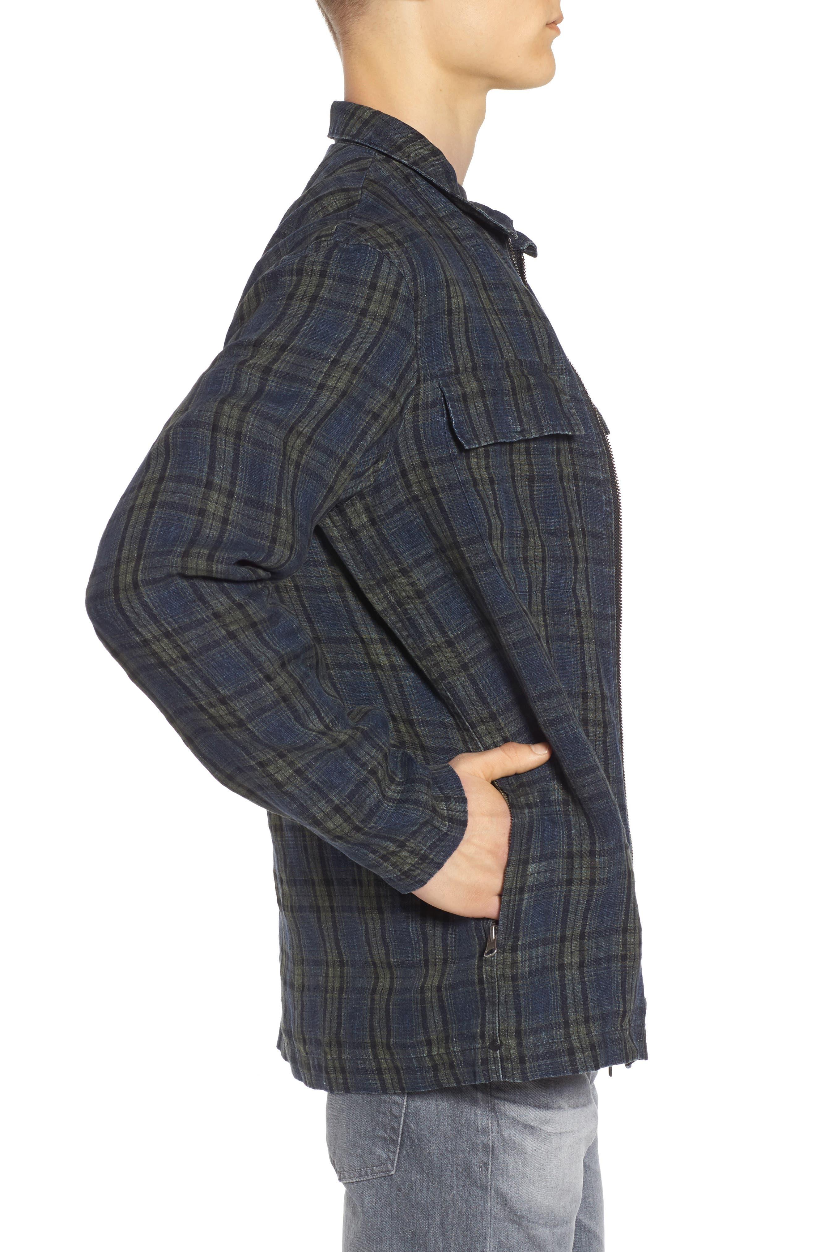 Plaid Zip Front Linen Shirt Jacket,                             Alternate thumbnail 3, color,                             315