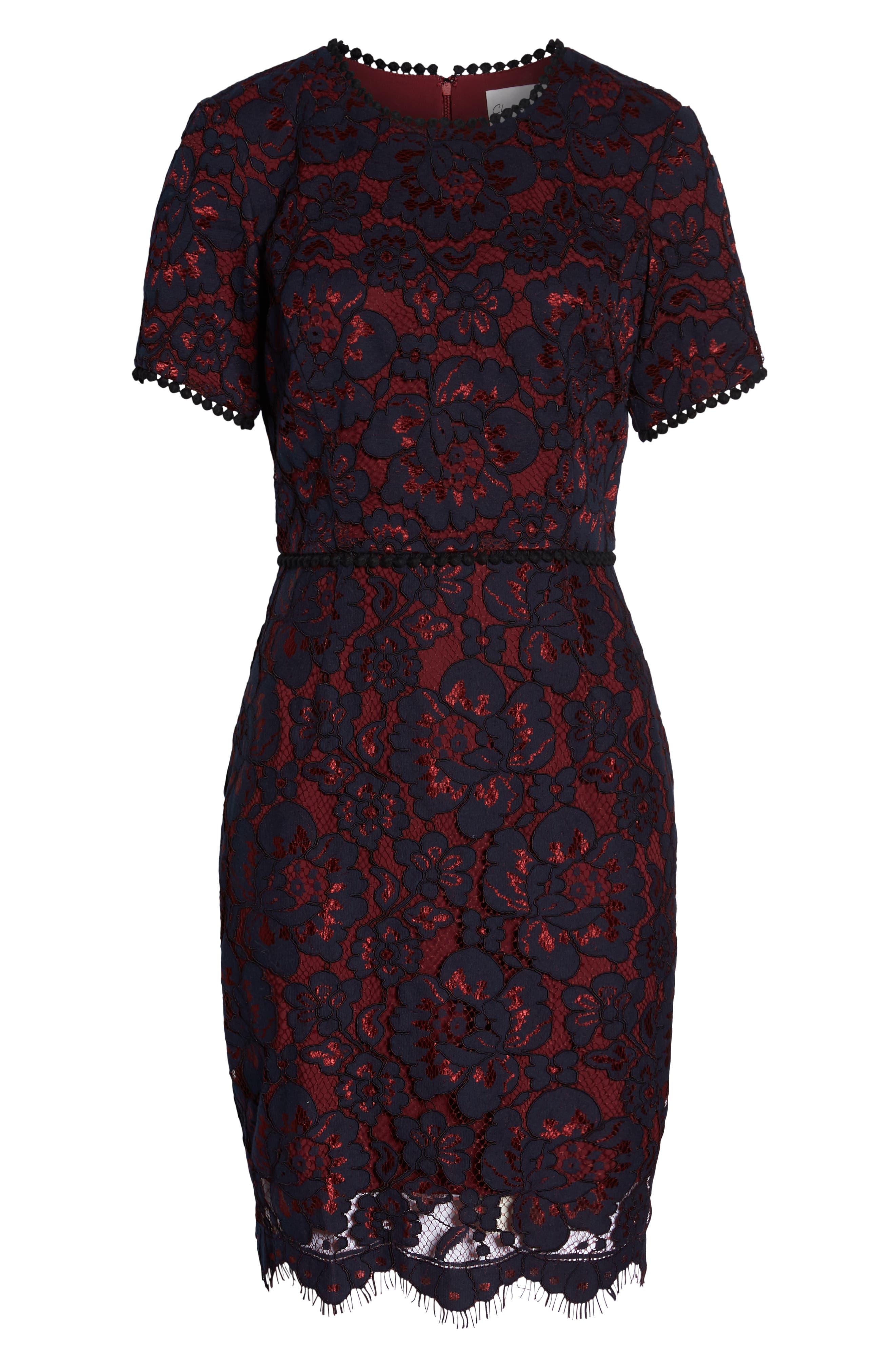Lace Sheath Dress,                             Alternate thumbnail 7, color,                             NAVY/ WINE LACE