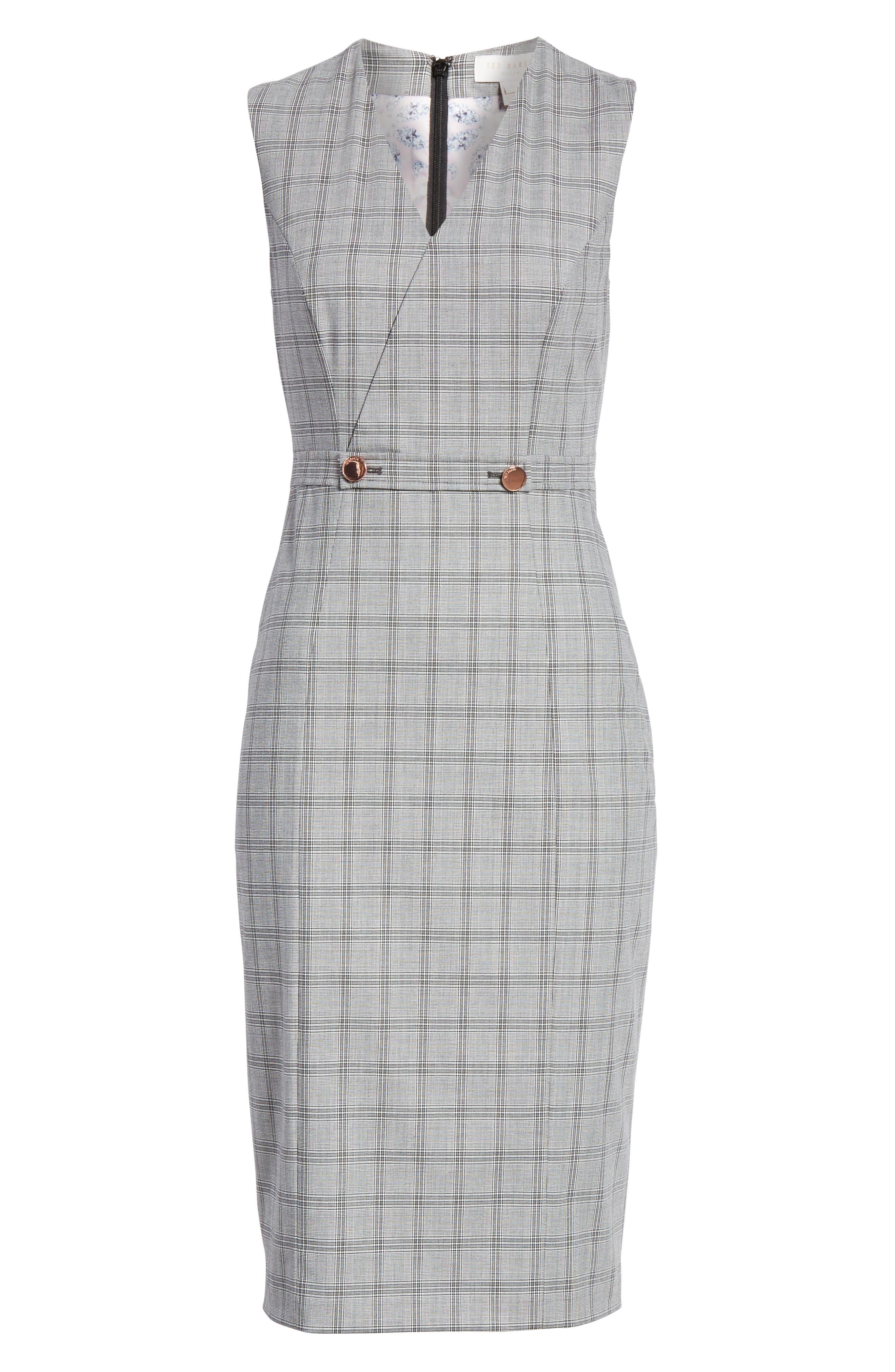Ted Working Title Ristad Check Sheath Dress,                             Alternate thumbnail 6, color,                             GREY