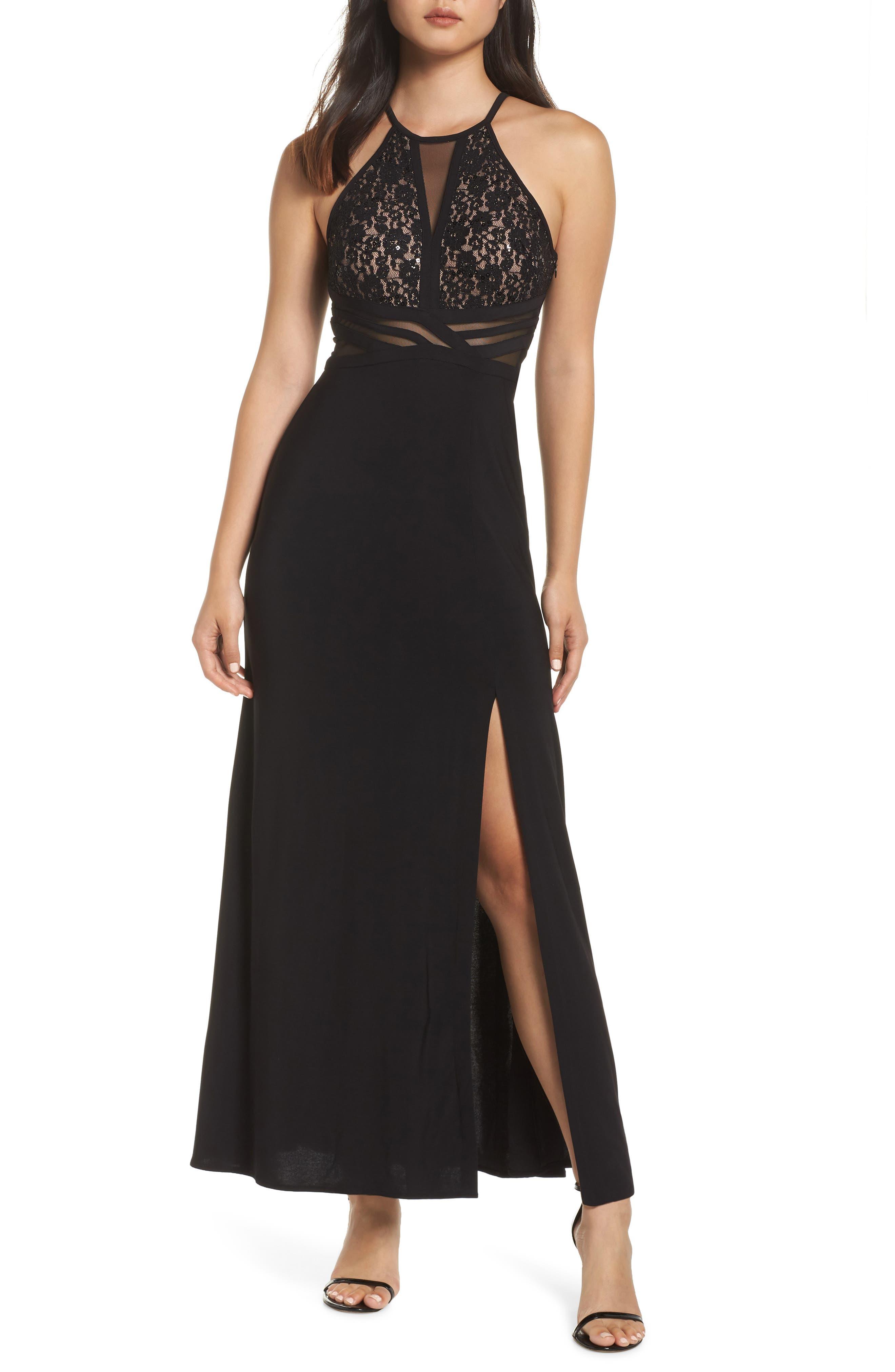 MORGAN & CO. Lace & Illusion Mesh Bodice Gown, Main, color, BLACK/ NUDE