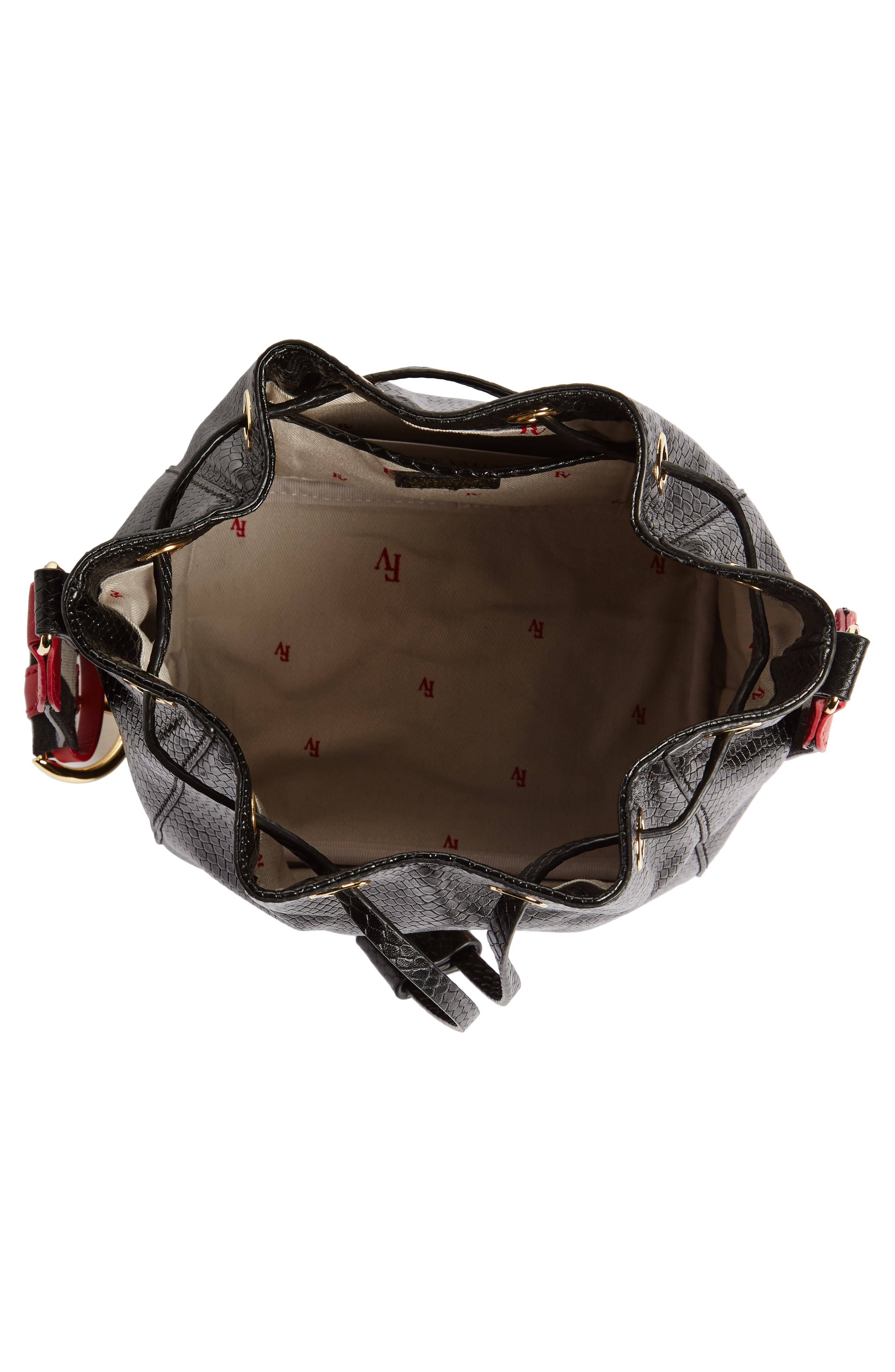 Small Snakeskin Embossed Leather Bucket Bag,                             Alternate thumbnail 4, color,                             001