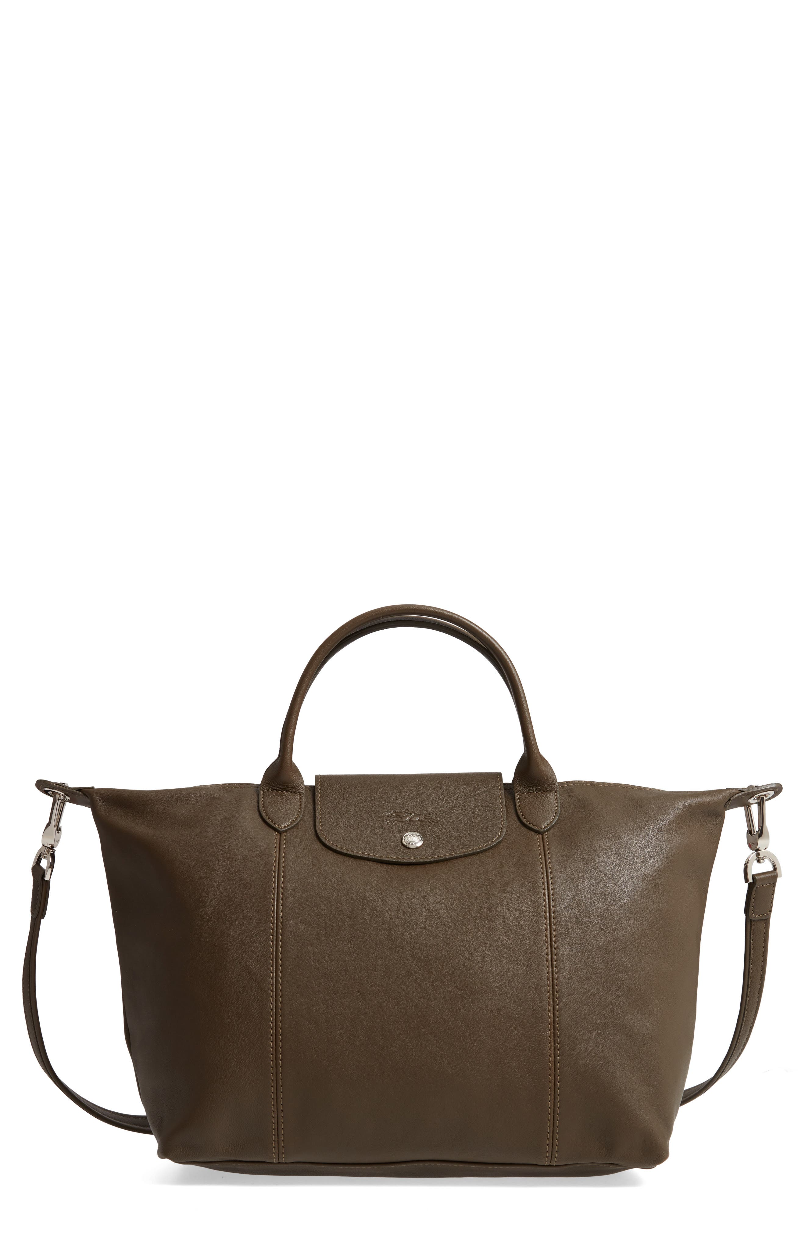 Medium 'Le Pliage Cuir' Leather Top Handle Tote,                             Main thumbnail 1, color,                             301