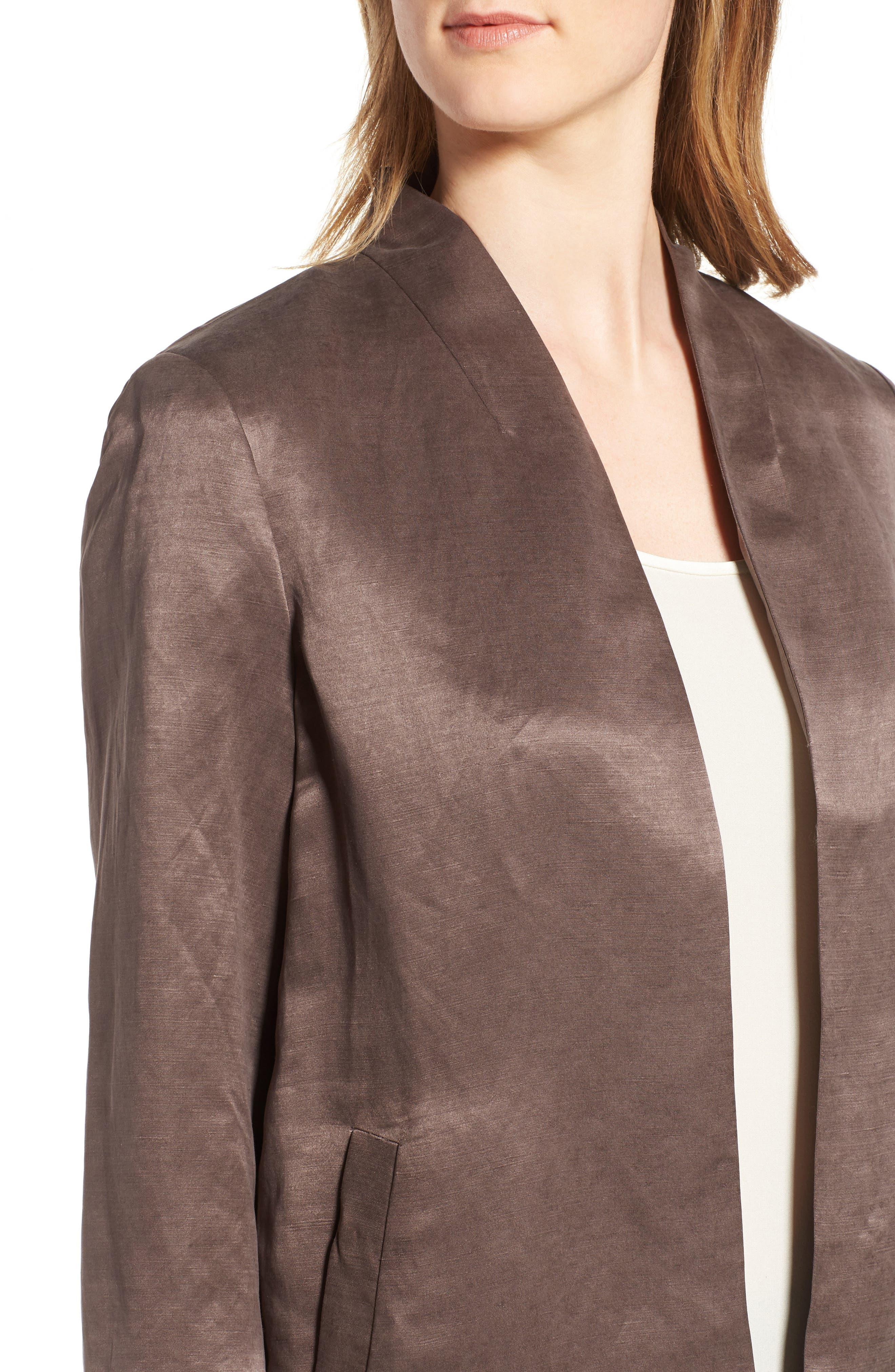 Organic Linen & Silk Jacket,                             Alternate thumbnail 4, color,                             200