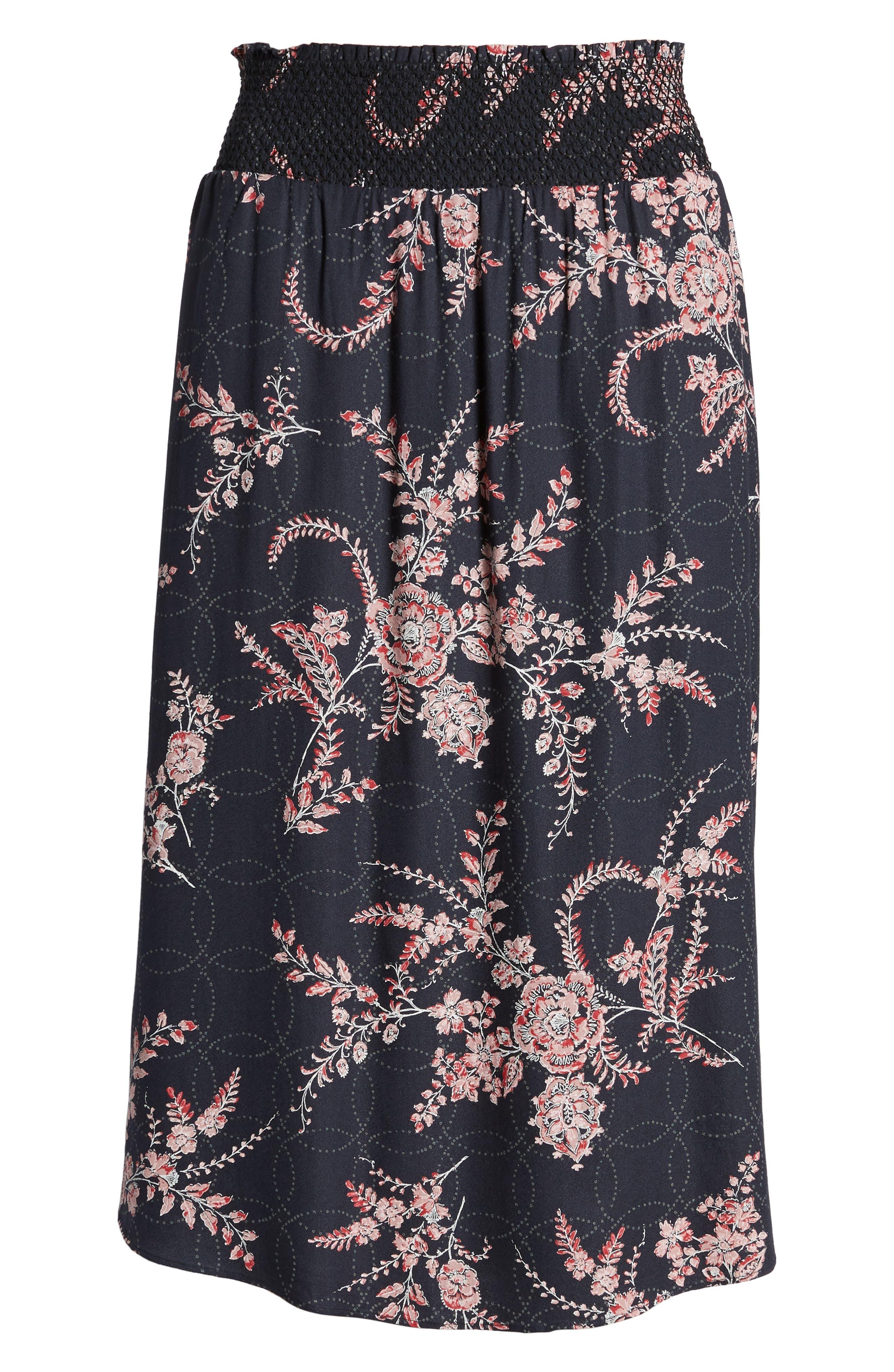 Smock Waist Midi Skirt,                             Alternate thumbnail 6, color,                             410