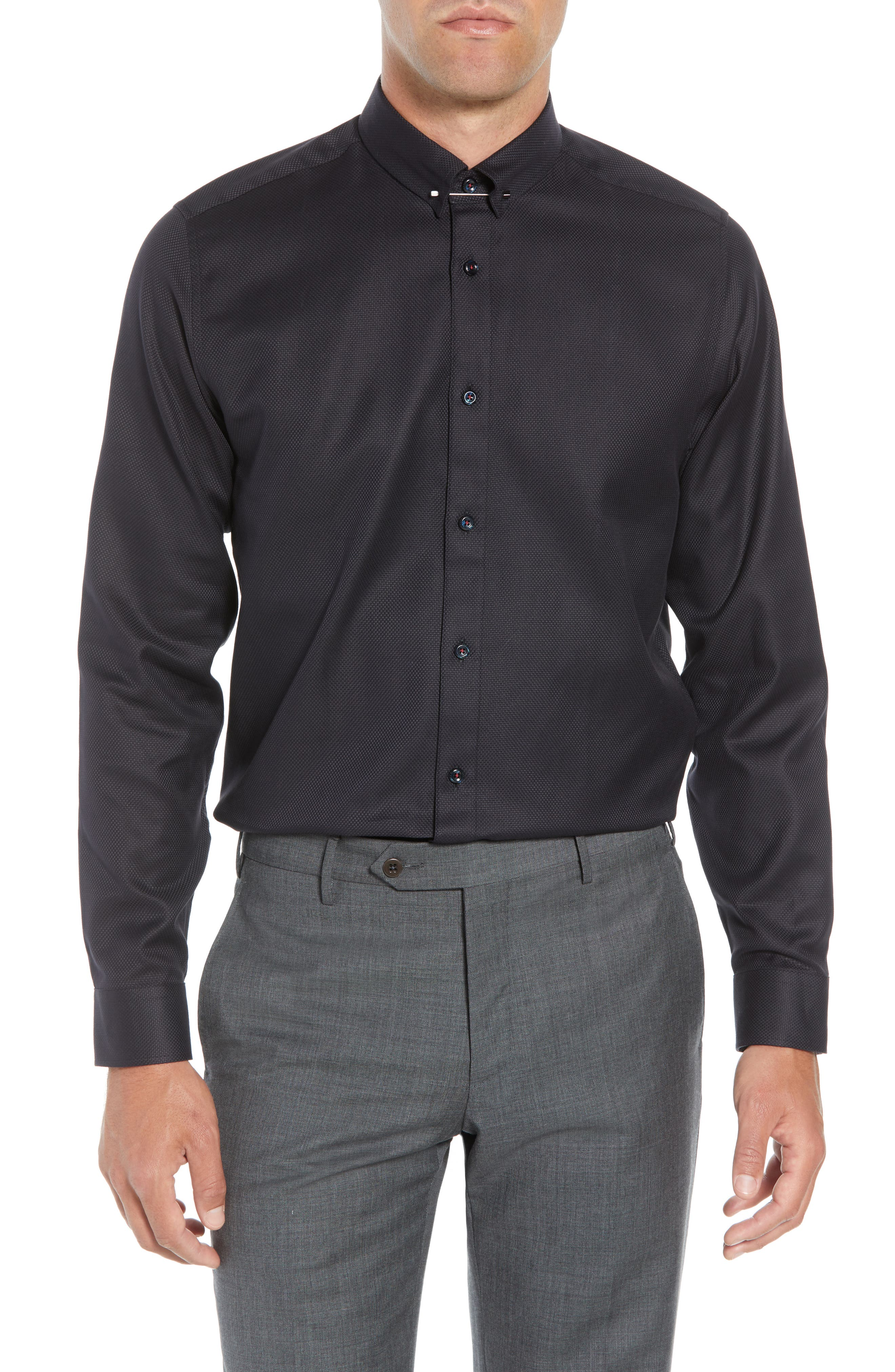 Leek Slim Fit Solid Dress Shirt,                         Main,                         color, NAVY