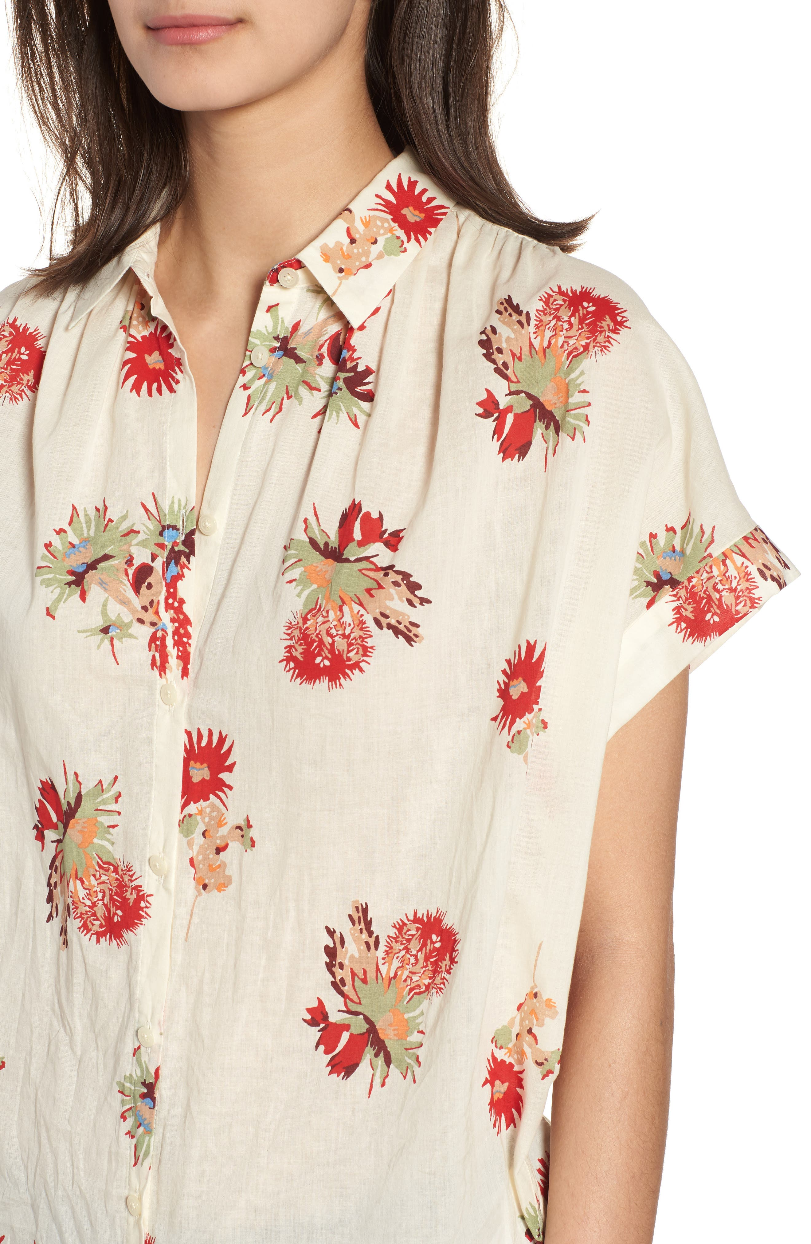 Central Cactus Floral Shirt,                             Alternate thumbnail 4, color,                             100