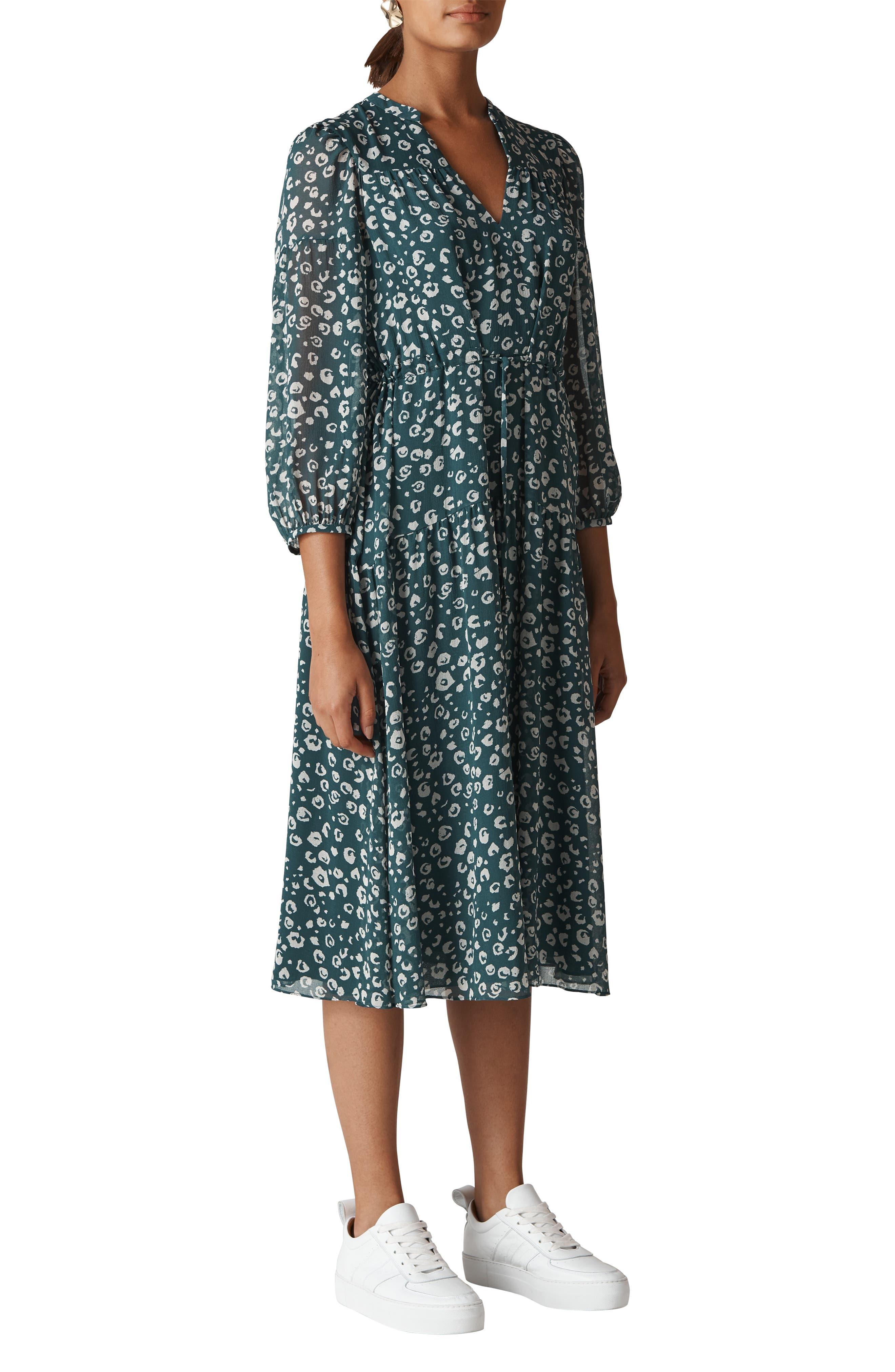 Adrianna Cheetah Print Midi Dress,                         Main,                         color, GREEN/ MULTI