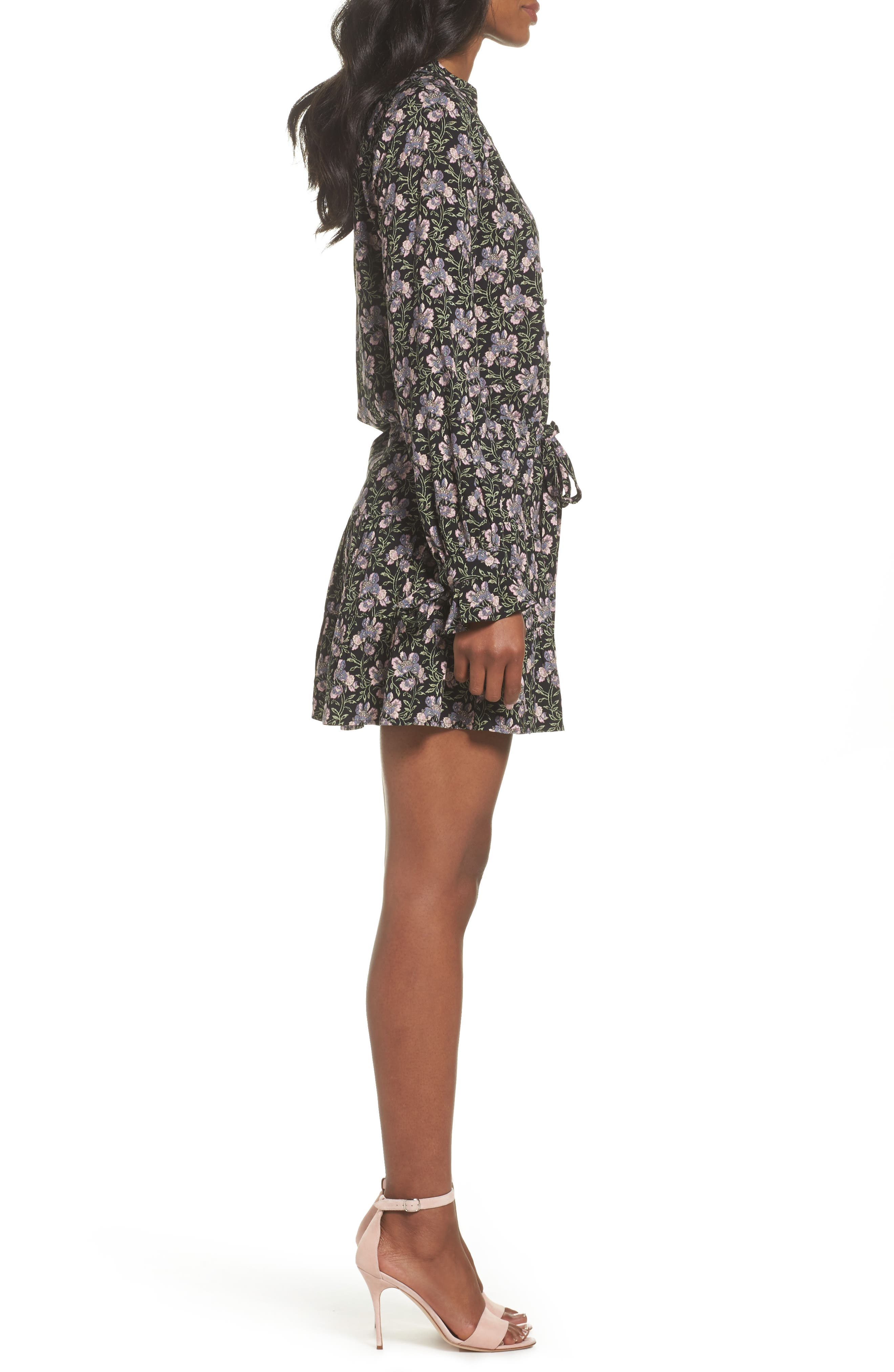 Denisa Floral Tie Cuff Minidress,                             Alternate thumbnail 3, color,                             STORM CLOUD MULTI
