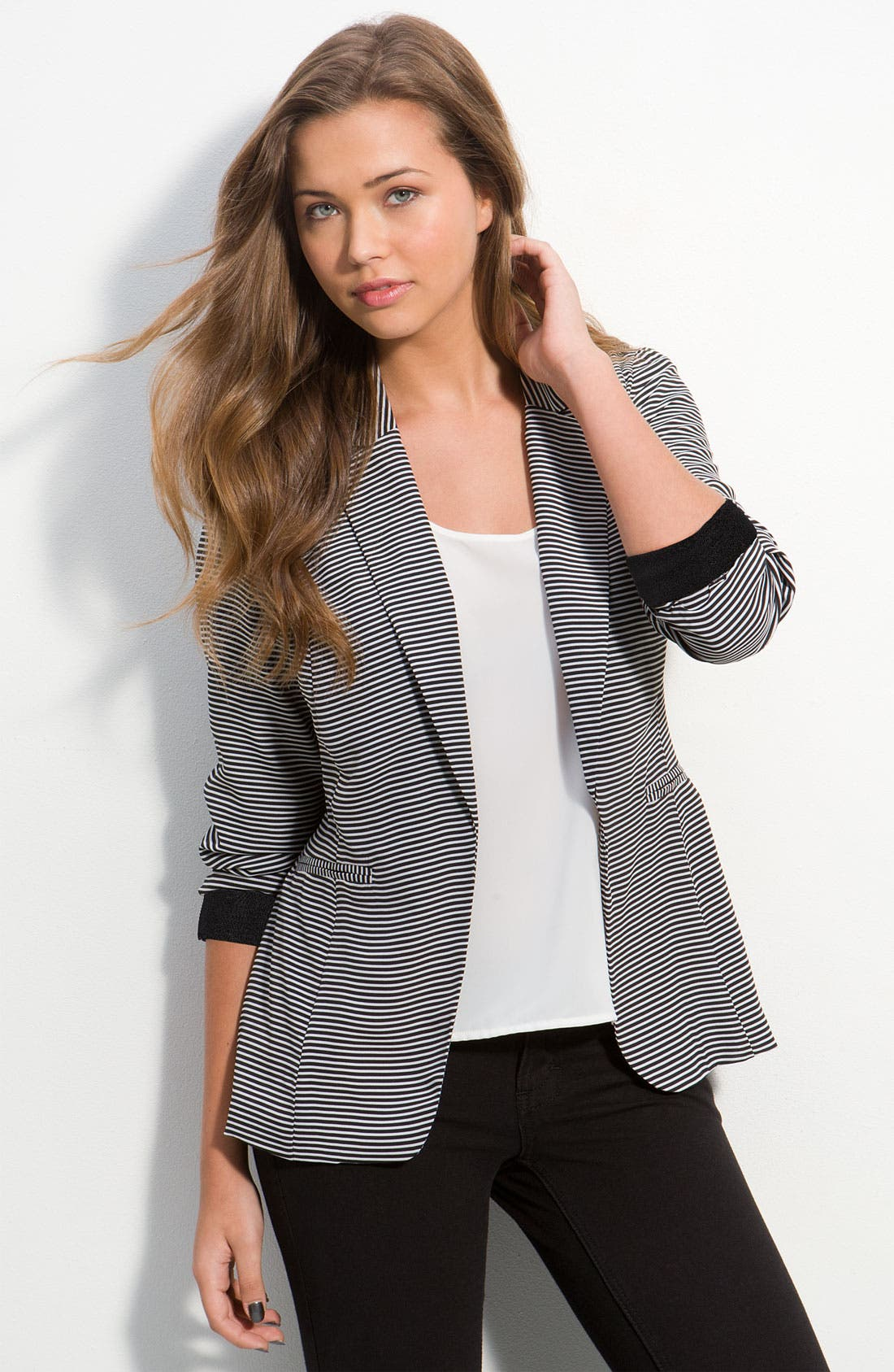 Ruched Sleeve Sateen Blazer,                             Main thumbnail 1, color,                             001