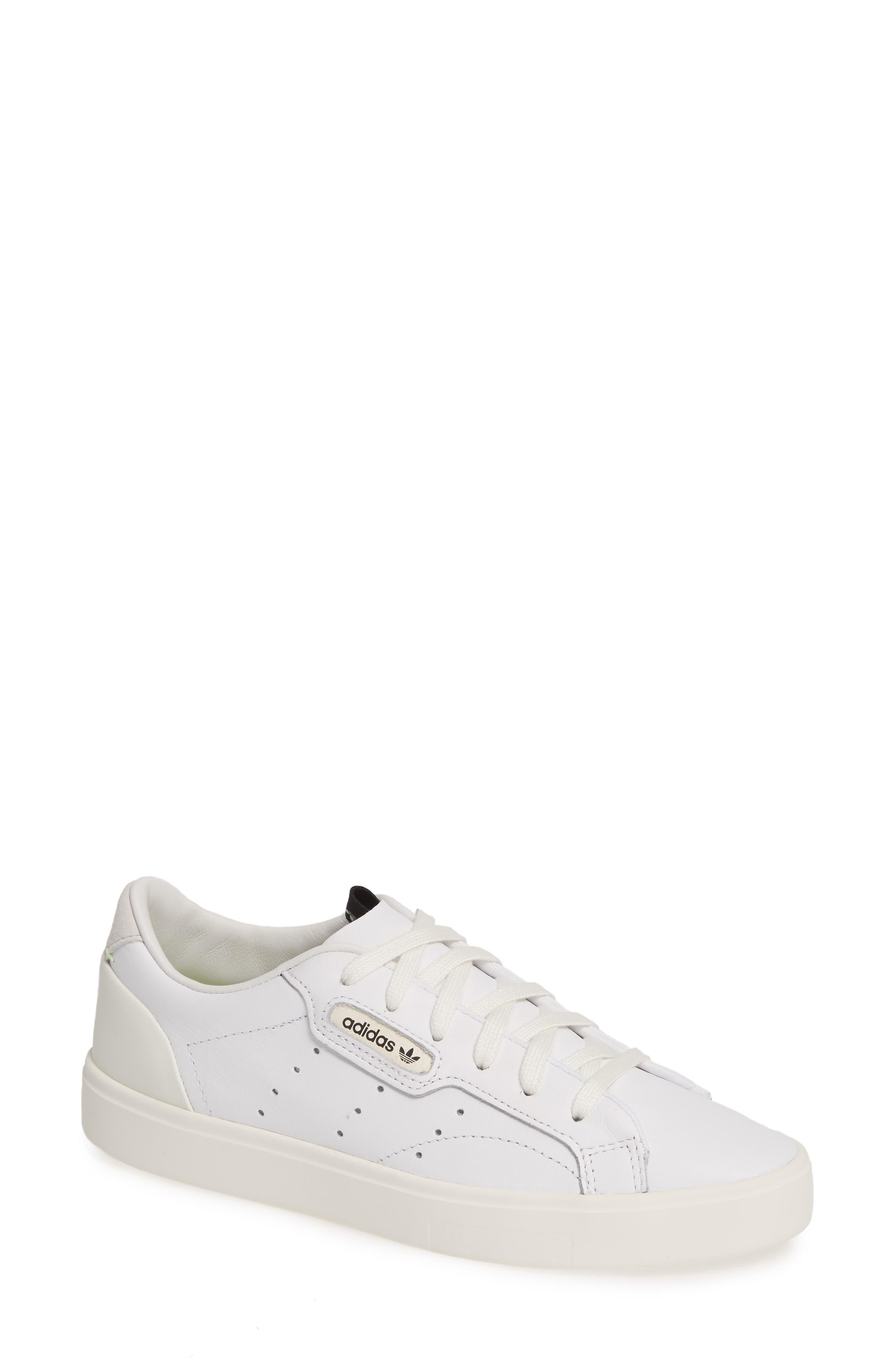 ADIDAS,                             Sleek Leather Sneaker,                             Main thumbnail 1, color,                             WHITE/ OFF WHITE/ CRYSTAL