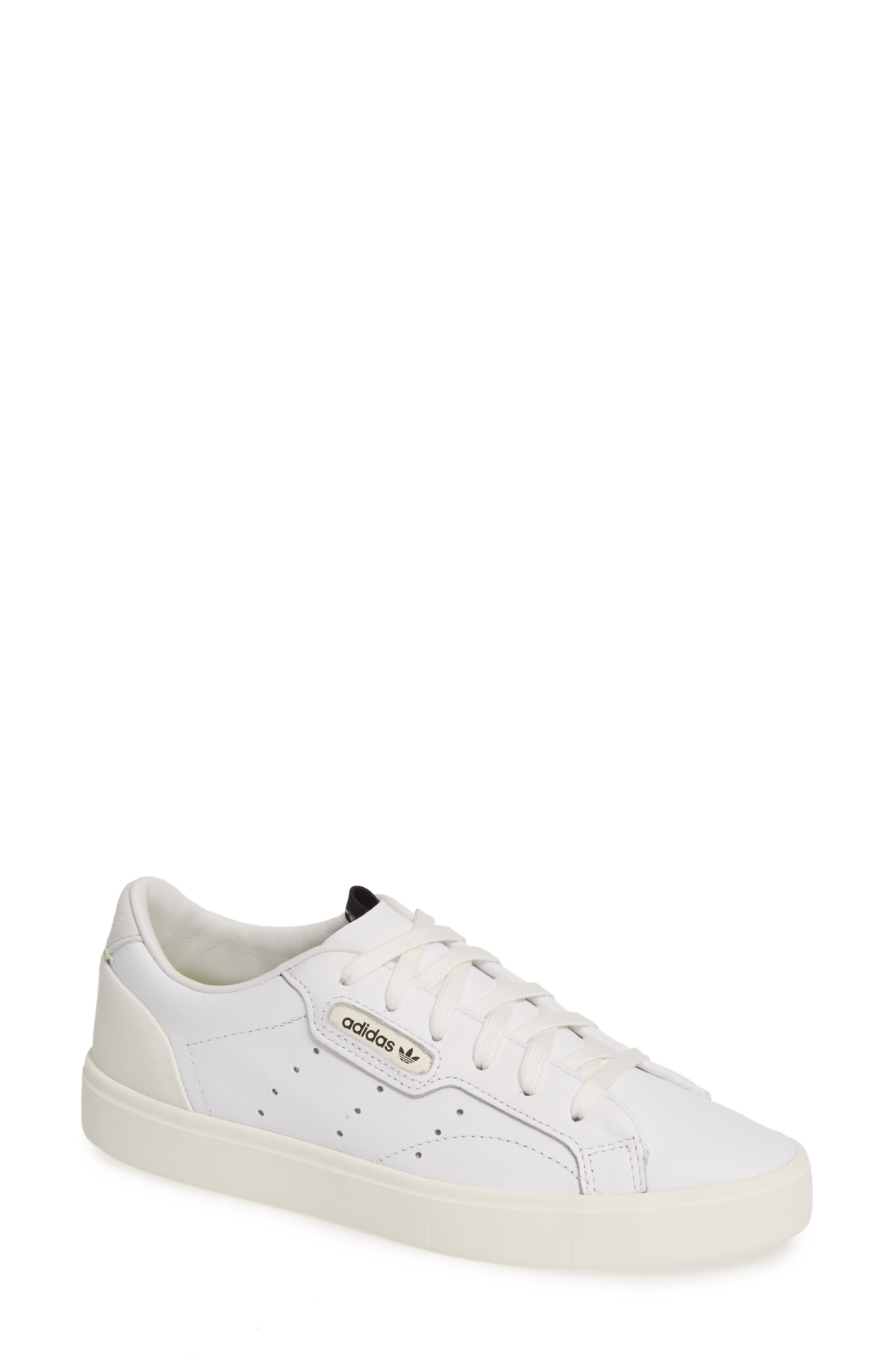 ADIDAS Sleek Leather Sneaker, Main, color, WHITE/ OFF WHITE/ CRYSTAL