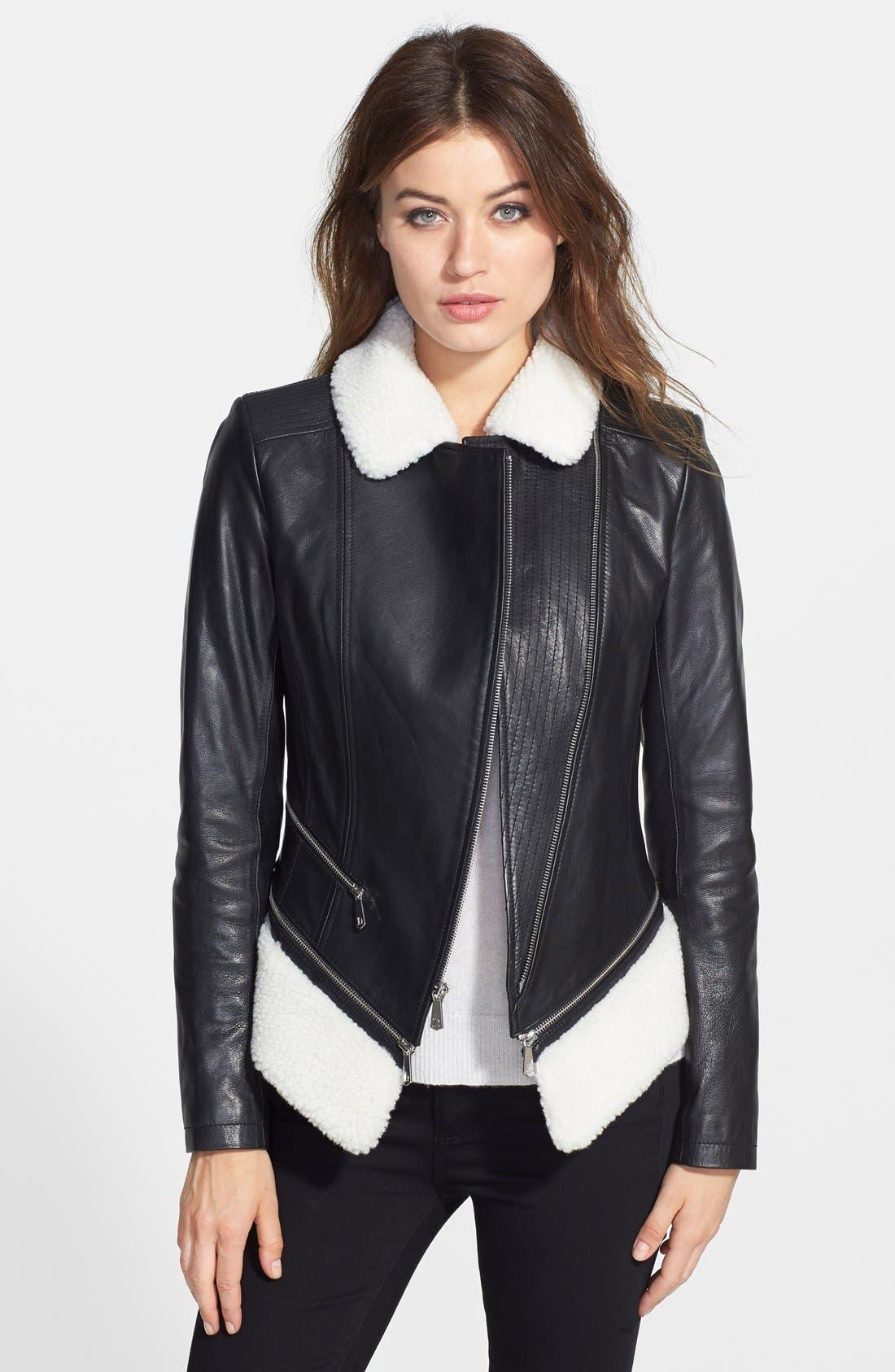 'KitKat' Faux Shearling Trim Leather Jacket,                         Main,                         color, 001