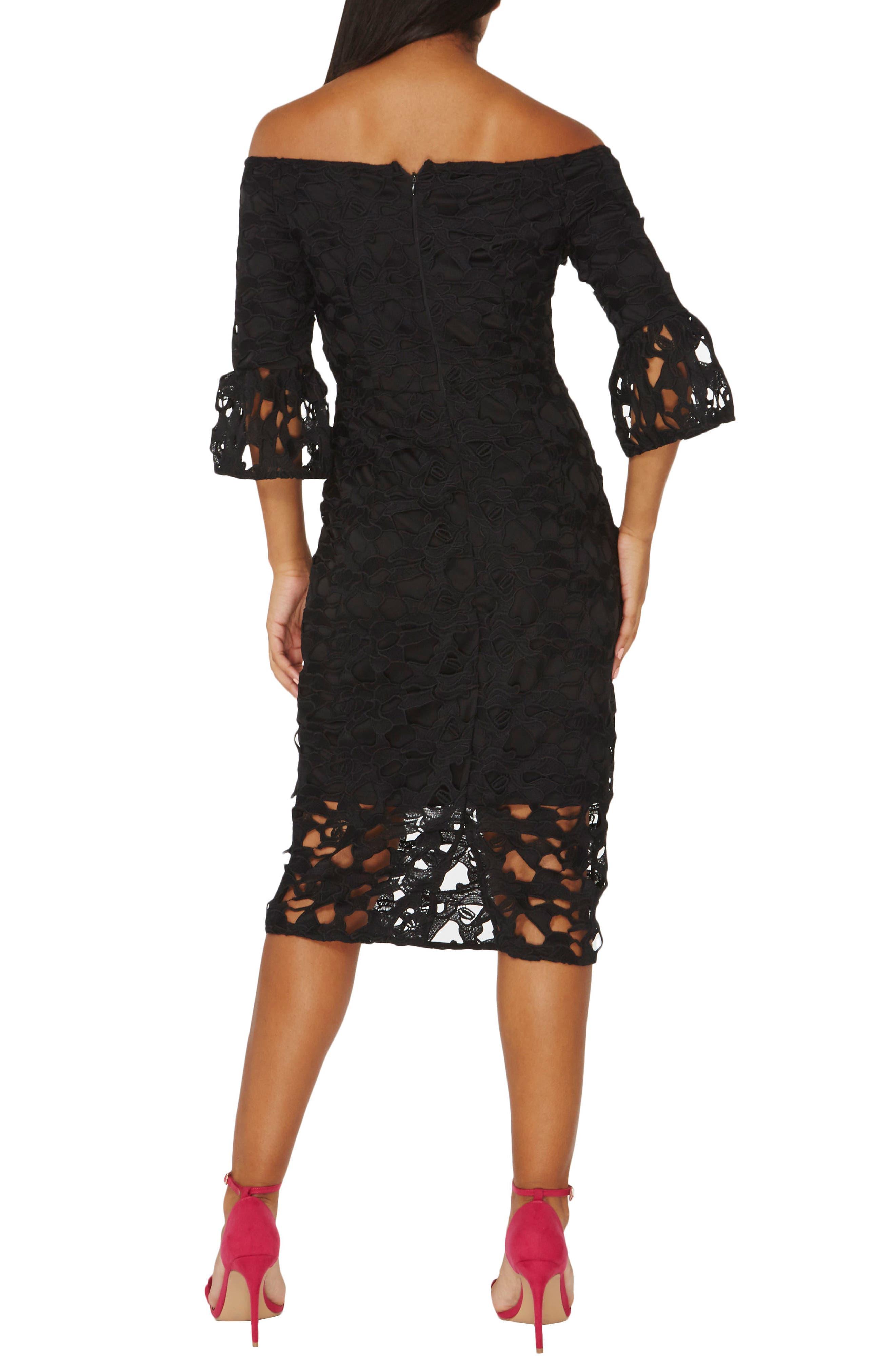 Lace Off the Shoulder Dress,                             Alternate thumbnail 2, color,                             010