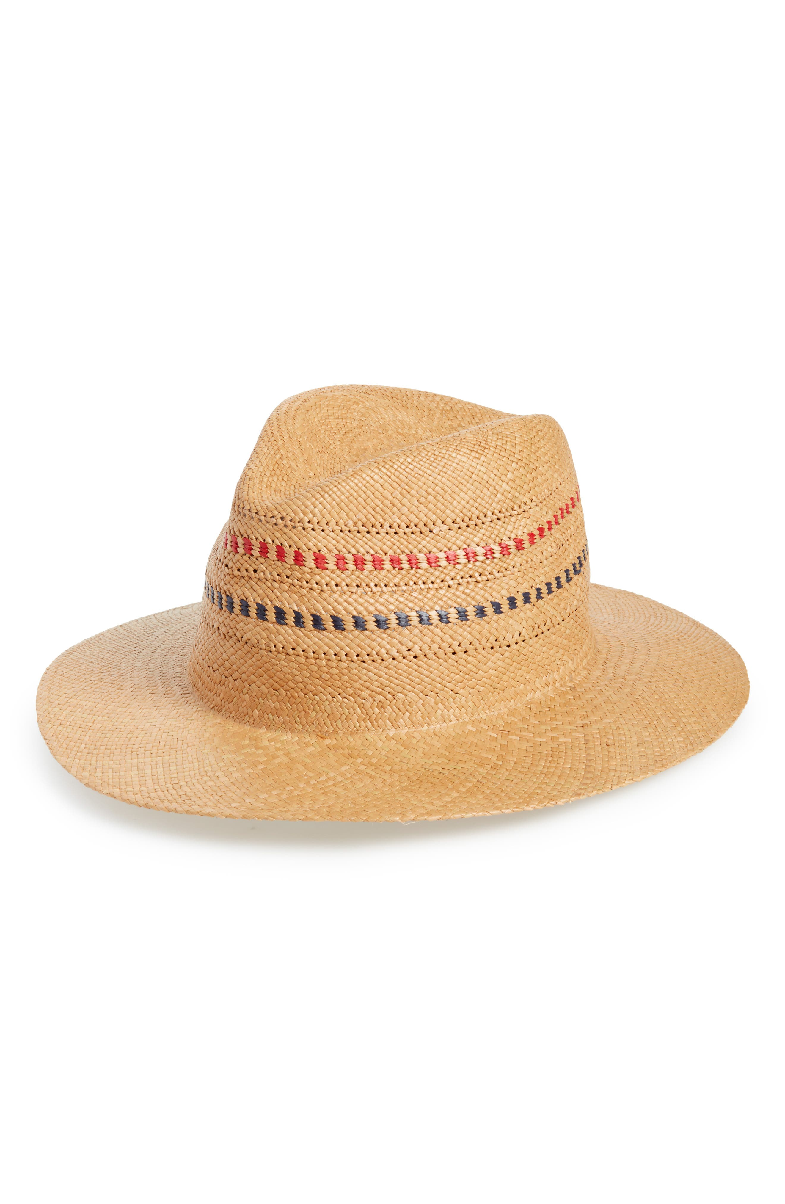 Panama Straw Hat,                             Main thumbnail 1, color,                             RED/ BLUE MULTI