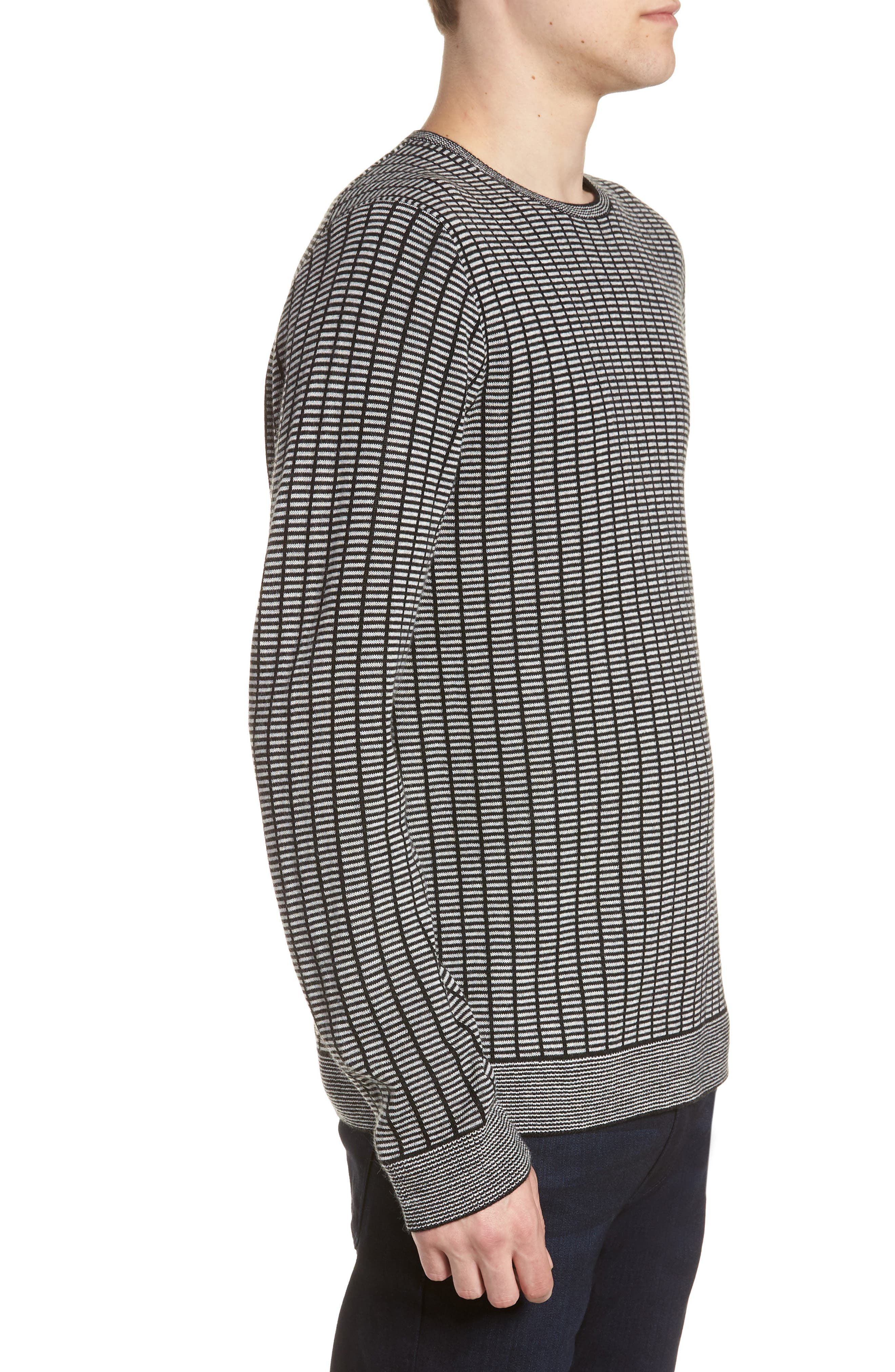 Grid Crewneck Sweater,                             Alternate thumbnail 3, color,                             BLACK CAVIAR