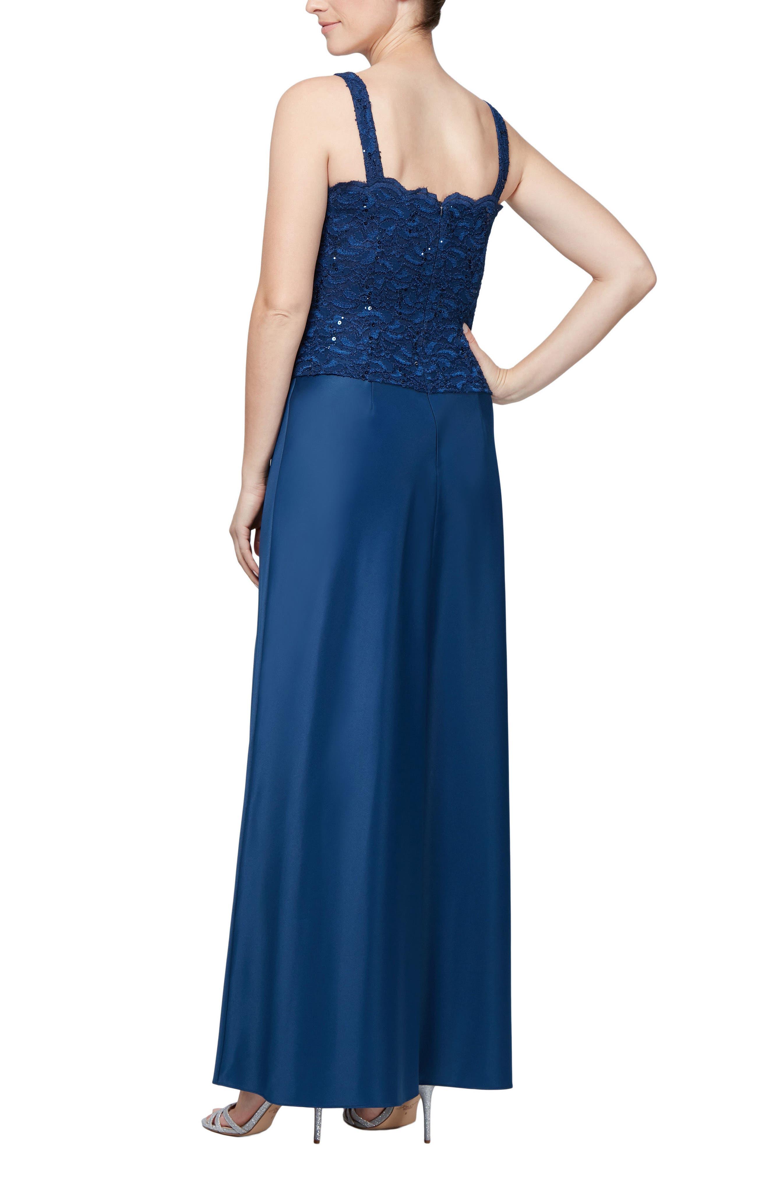 Sequin Lace Gown & Jacket,                             Alternate thumbnail 4, color,                             COBALT