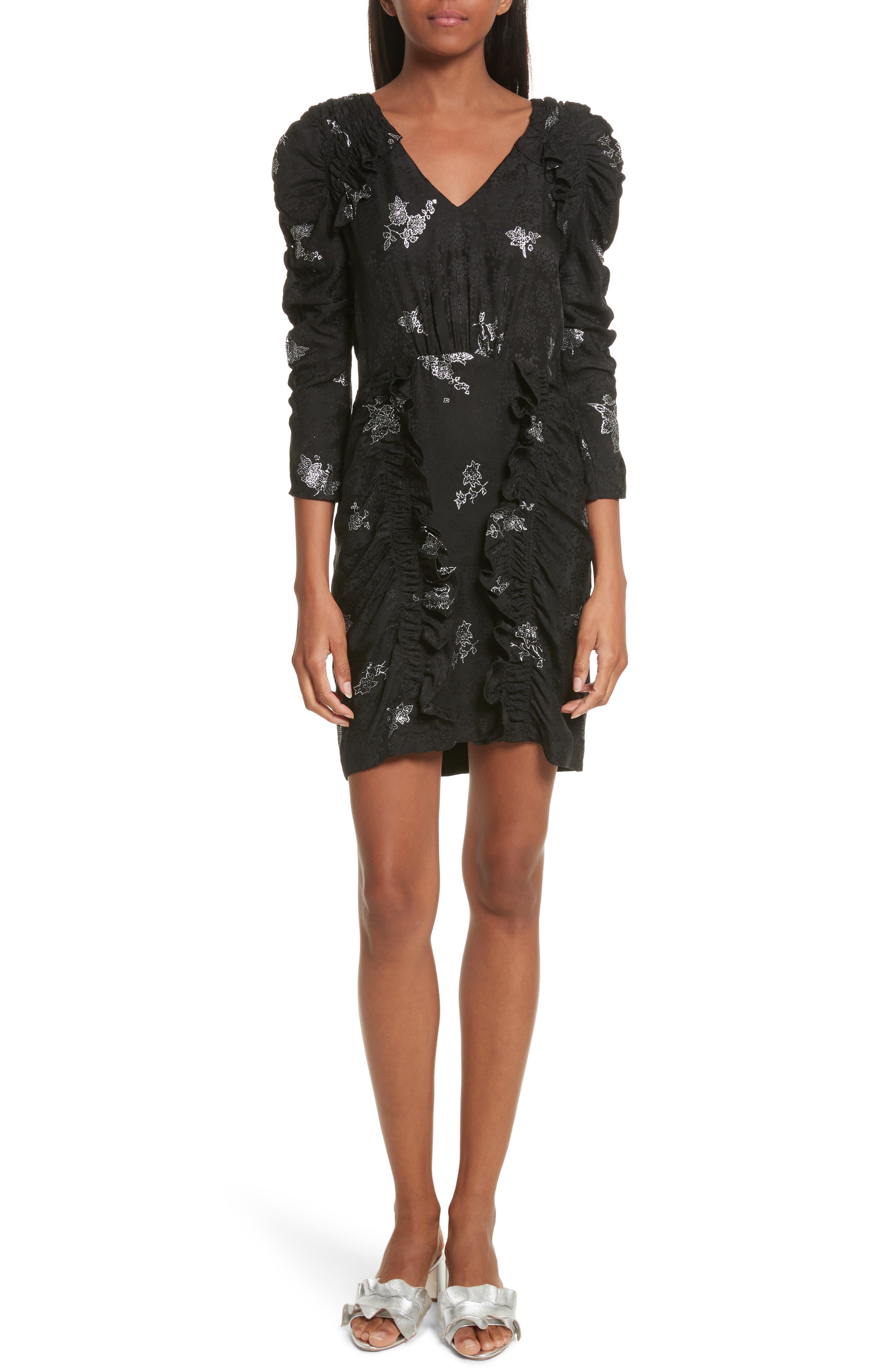 Glitter Jacquard Silk Dress,                         Main,                         color, 010
